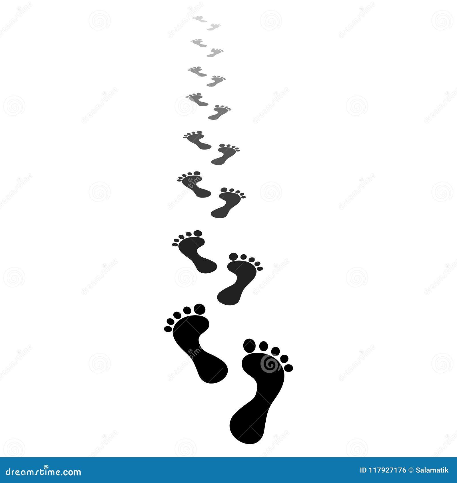 черный силуэт Человеческий след ноги Следы ноги босых ног идя вдоль пути и идут за горизонтом Тропа перспективы