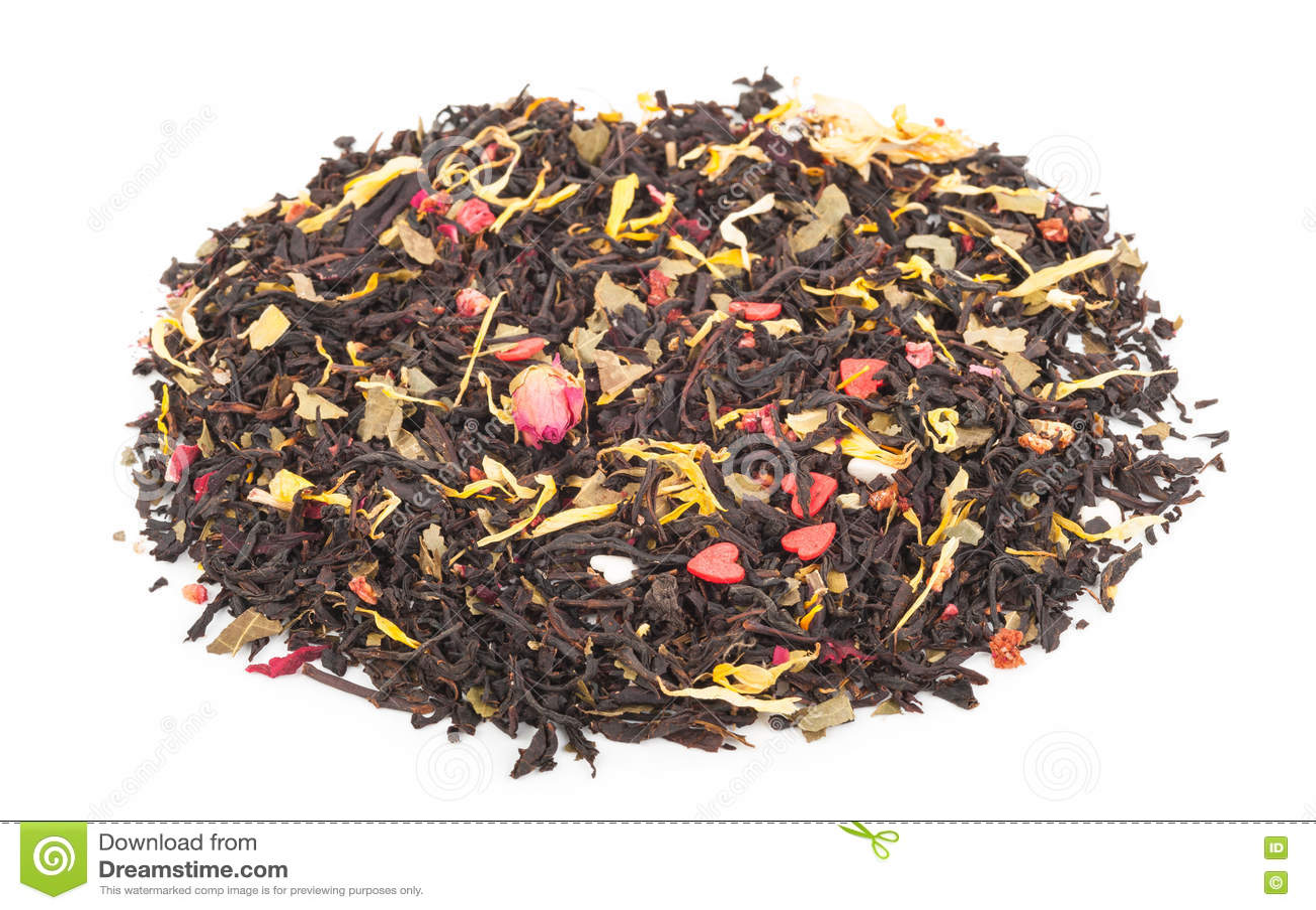 Черный сухой чай с плодоовощами и лепестками