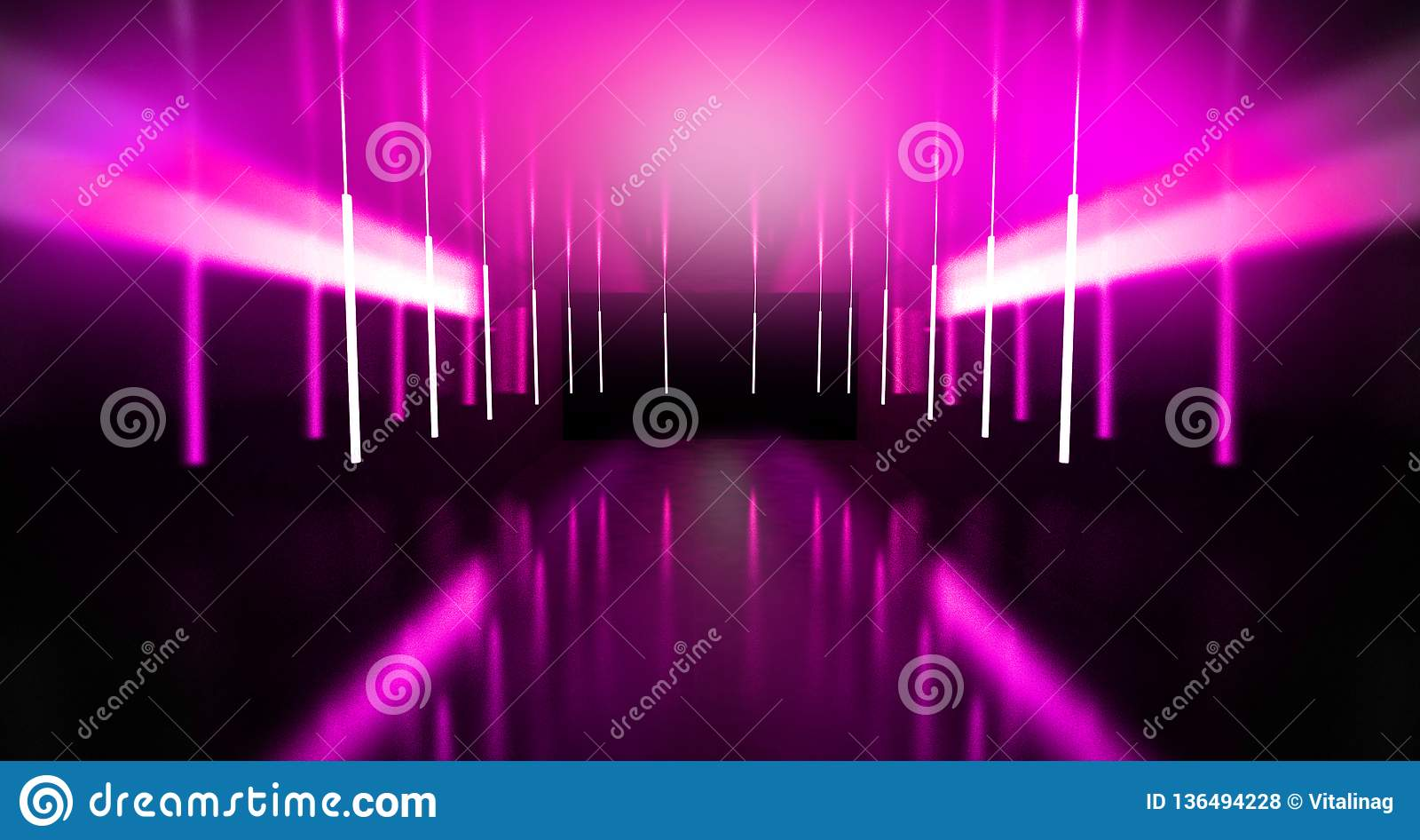 Черный тоннель, черный лоск, неоновые лампы вися от потолка, отраженного в стенах и поле Взгляд ночи коридора
