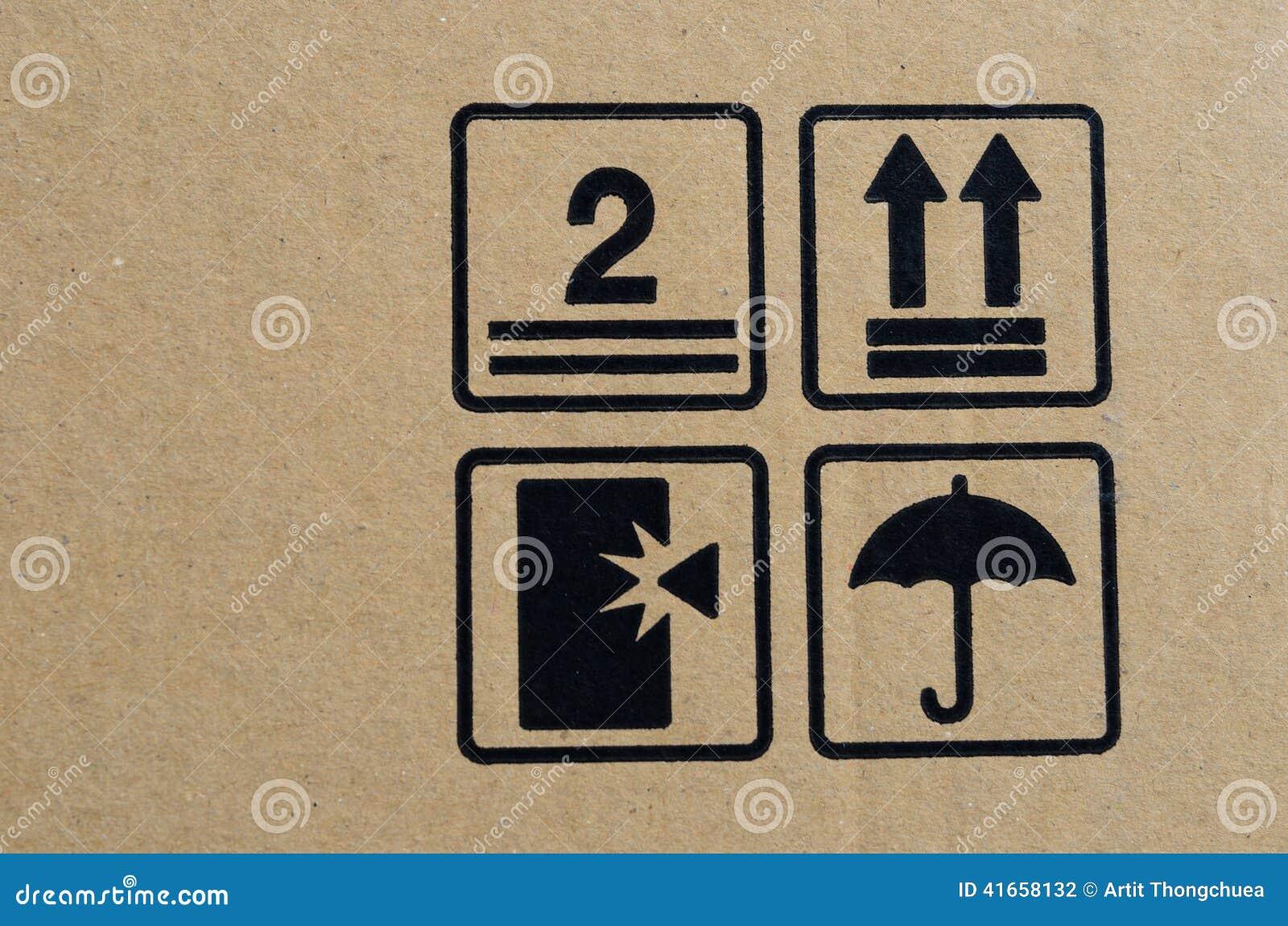 Черный хрупкий символ на коробке