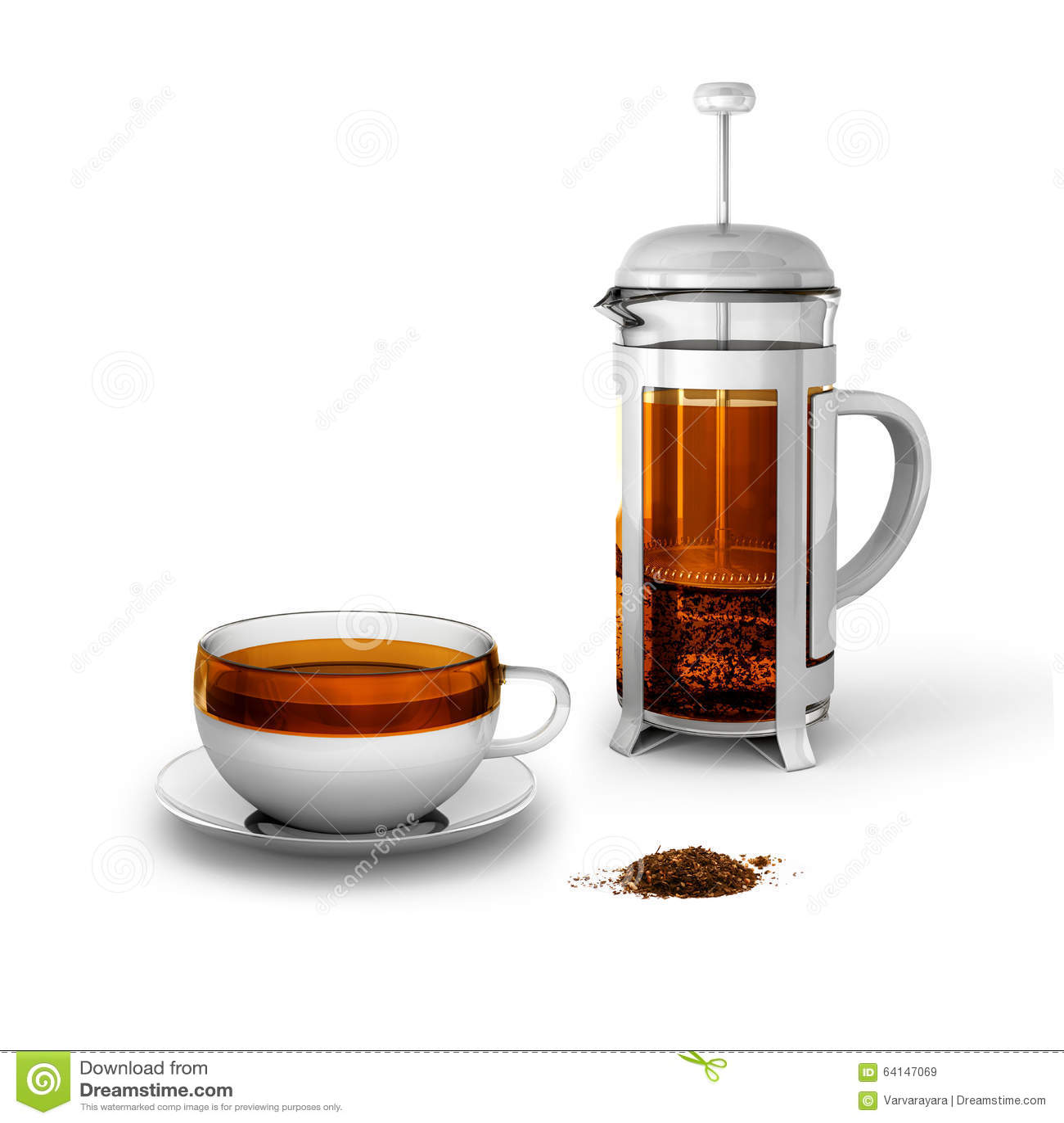 Черный чай с чашкой и прессой француза