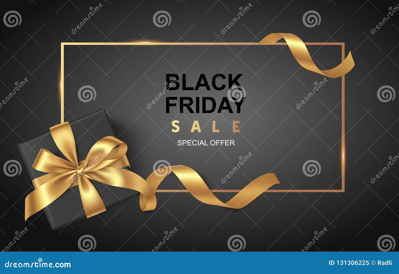 Черный шаблон дизайна продажи пятницы Декоративная черная подарочная коробка с золотым смычком и длинной лентой также вектор иллю
