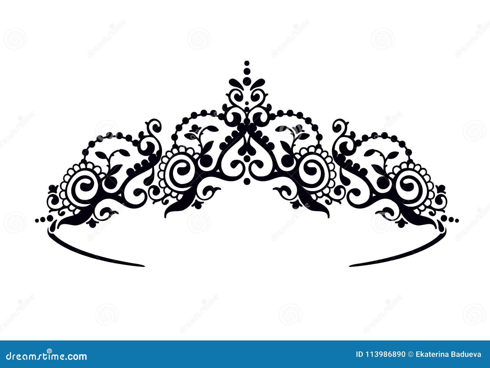 Черный diadem принцессы на предпосылке Уайта Крона также вектор иллюстрации притяжки corel