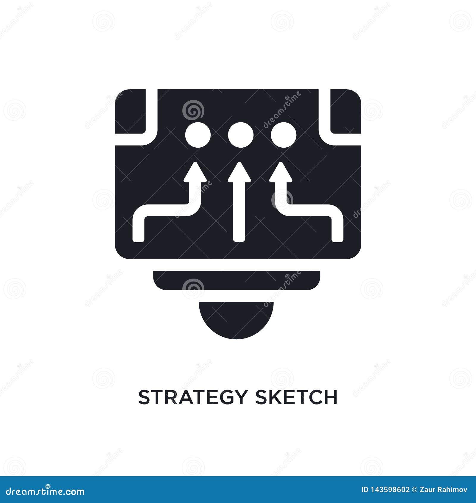 черным значок вектора стратегии изолированный эскизом простая иллюстрация элемента от запуска stategy и значков вектора концепции