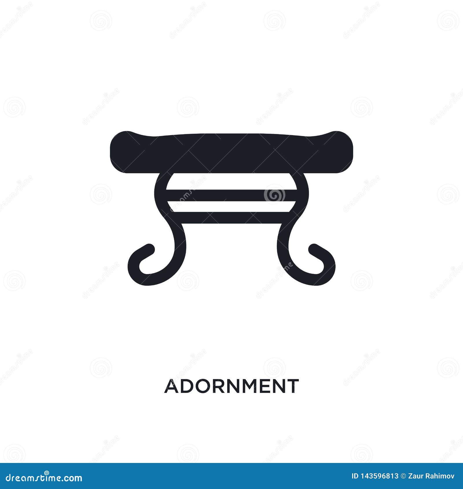 черным изолированный украшением значок вектора простая иллюстрация элемента от значков вектора концепции мебели и домочадца украш