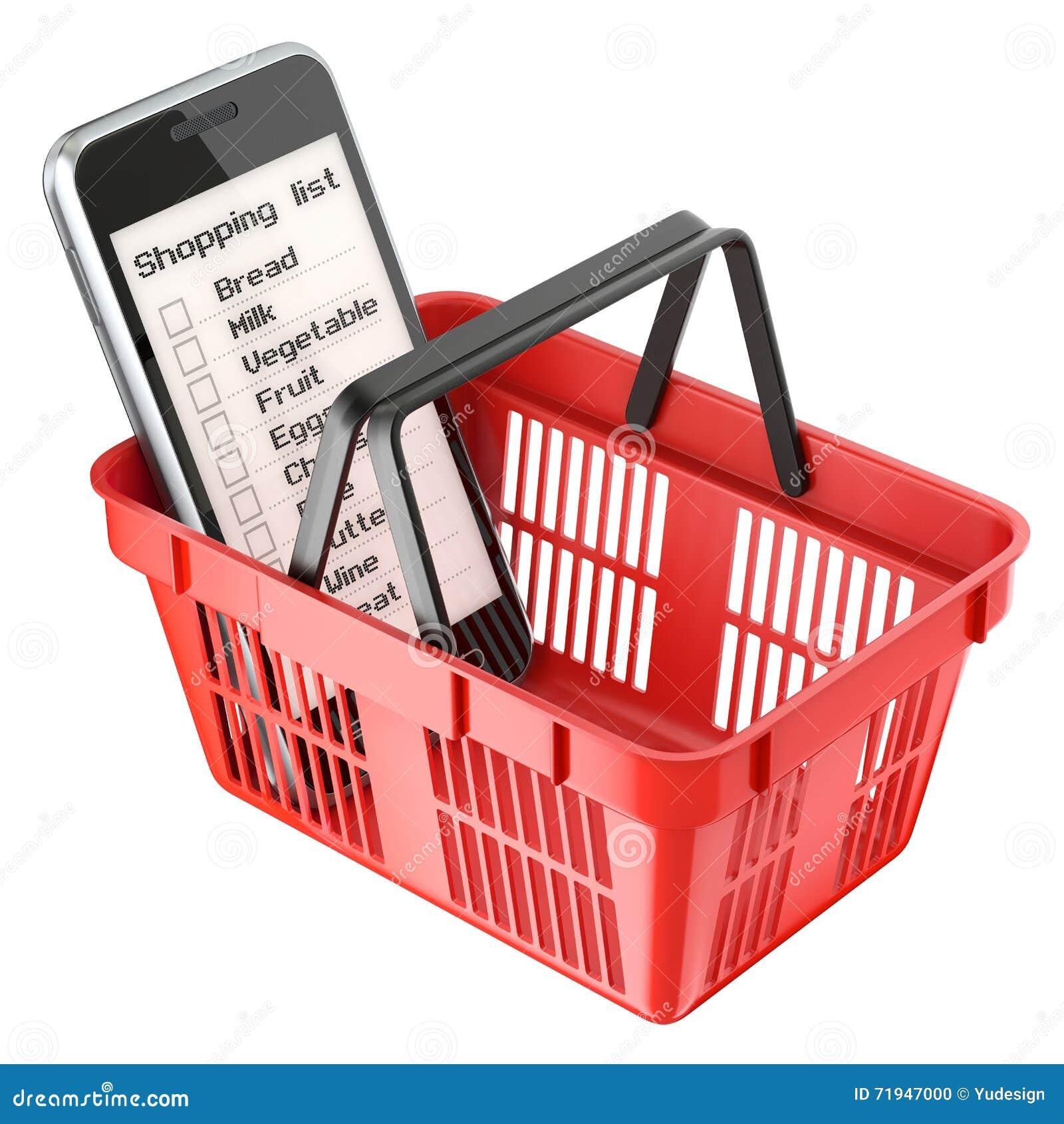 Чернь с списком покупок в красной корзине для товаров