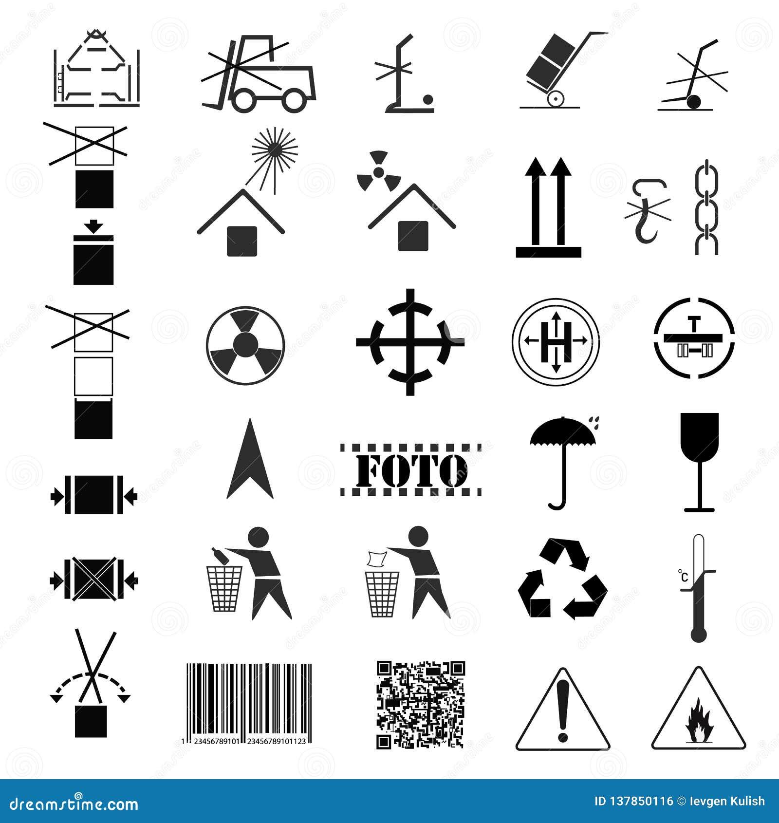 Чертеж вектора, изображение собрания пакуя символов Маркировка груза, маркировка перехода