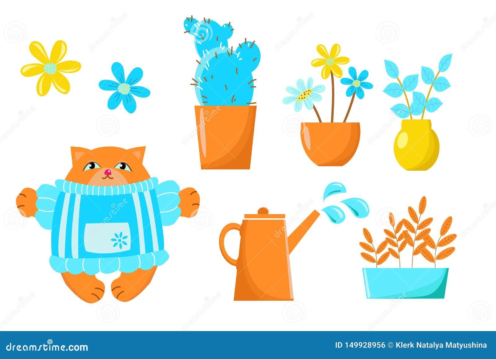 Чертеж вектора показывая баки цветков в саде и котах Установите для обоев дизайна, предпосылки, ткани, упаковывая, бумаги,