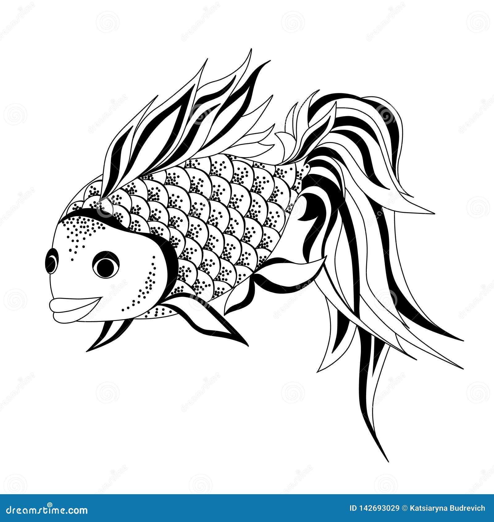 Чертеж вектора рыбки