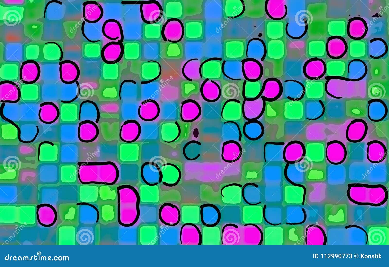 Чертеж в стиле квадратов мозаики