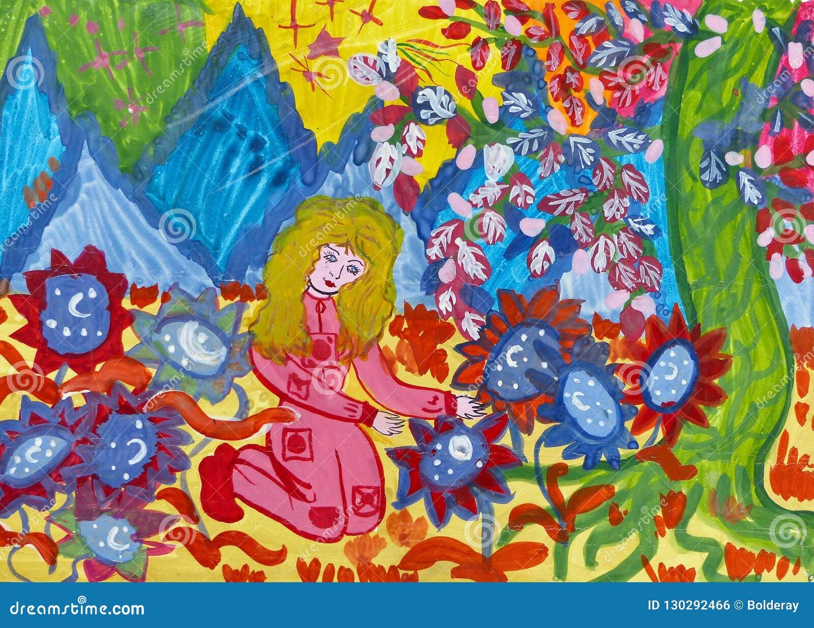 """Чертеж детей для рассказа Kir Bulychov """"Алисы и тайны третьей планеты """" Гуашь на бумаге Наивнонатуралистическое искусство"""
