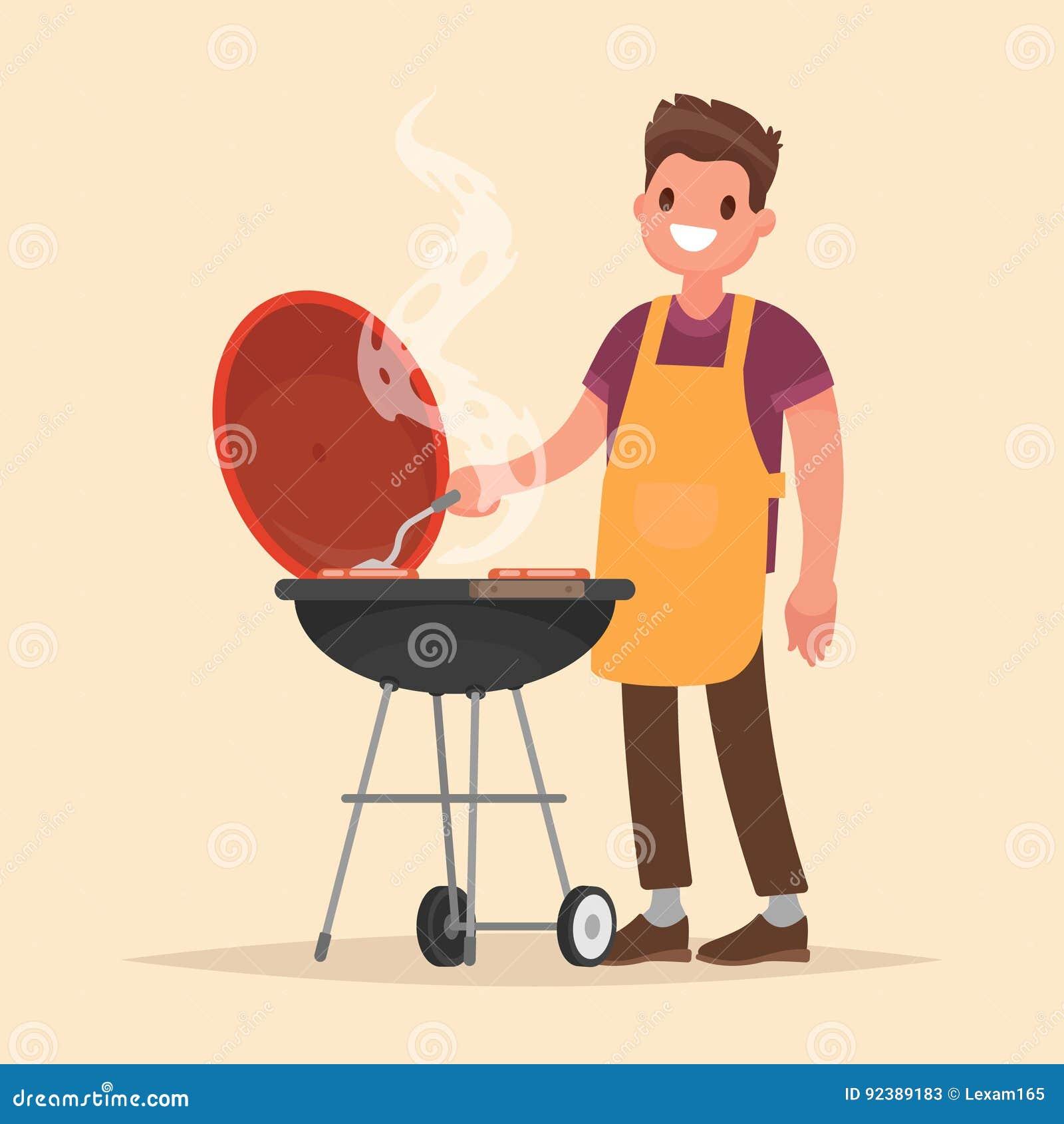 Человек варит гриль барбекю Мясо и сосиски фрая на огне