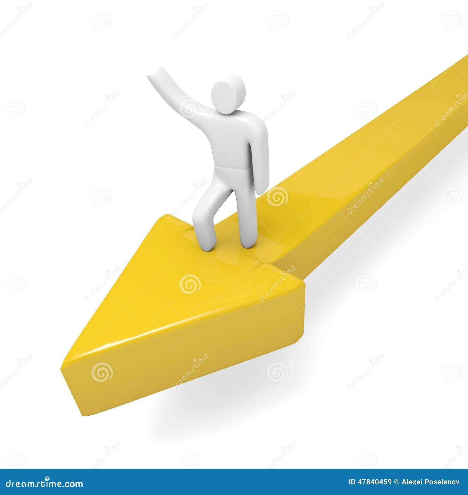 Человек двигает вперед на огромную желтую стрелку