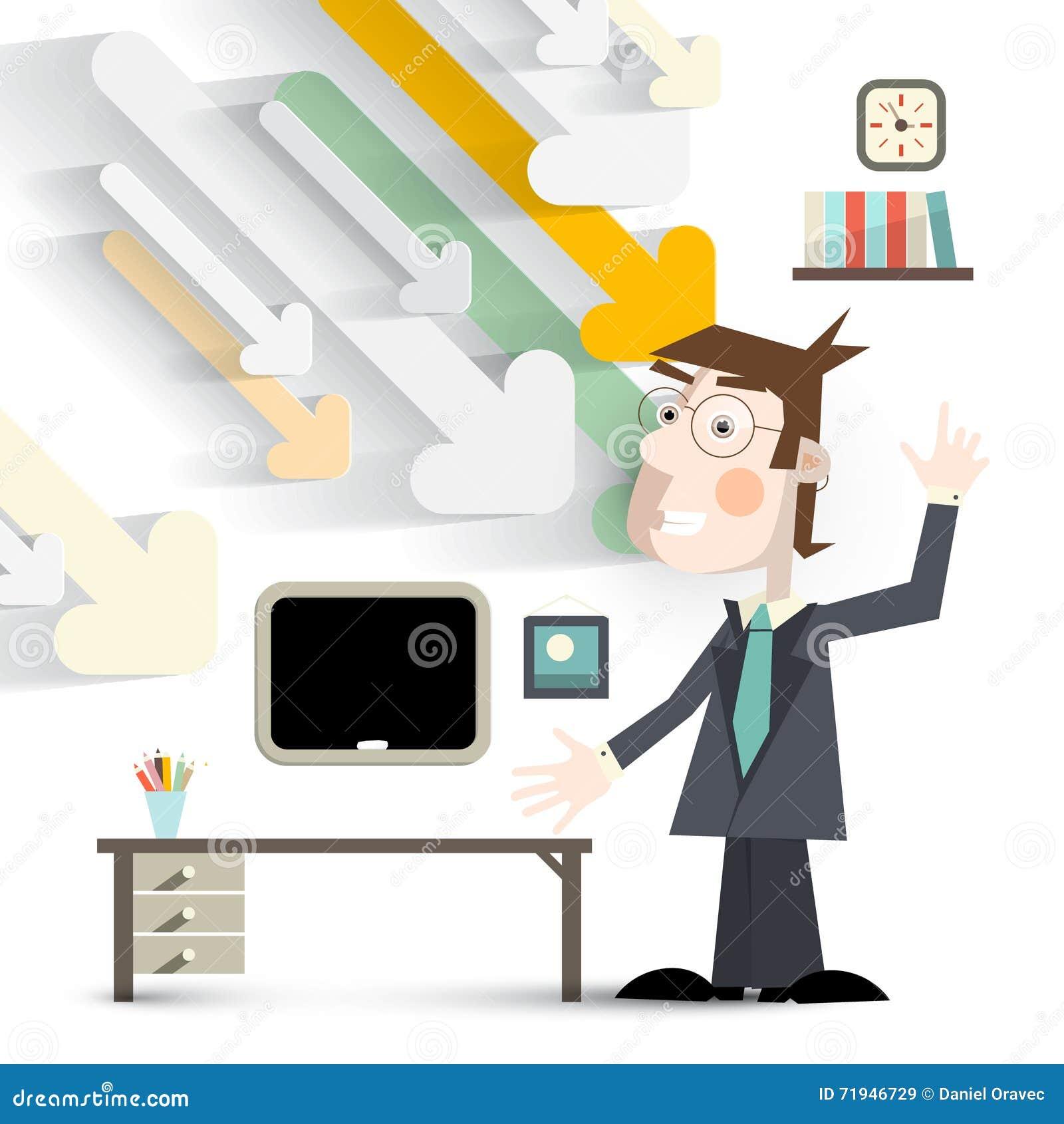 Человек в офисе в костюме с стрелками отрезка бумаги