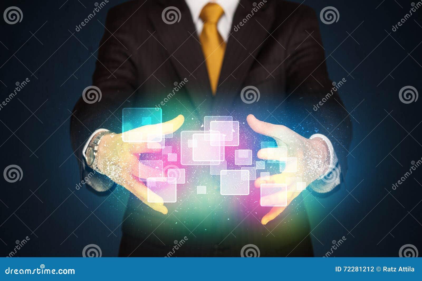 Download Человек держа абстрактные значки Стоковое Фото - изображение насчитывающей кавказско, руки: 72281212