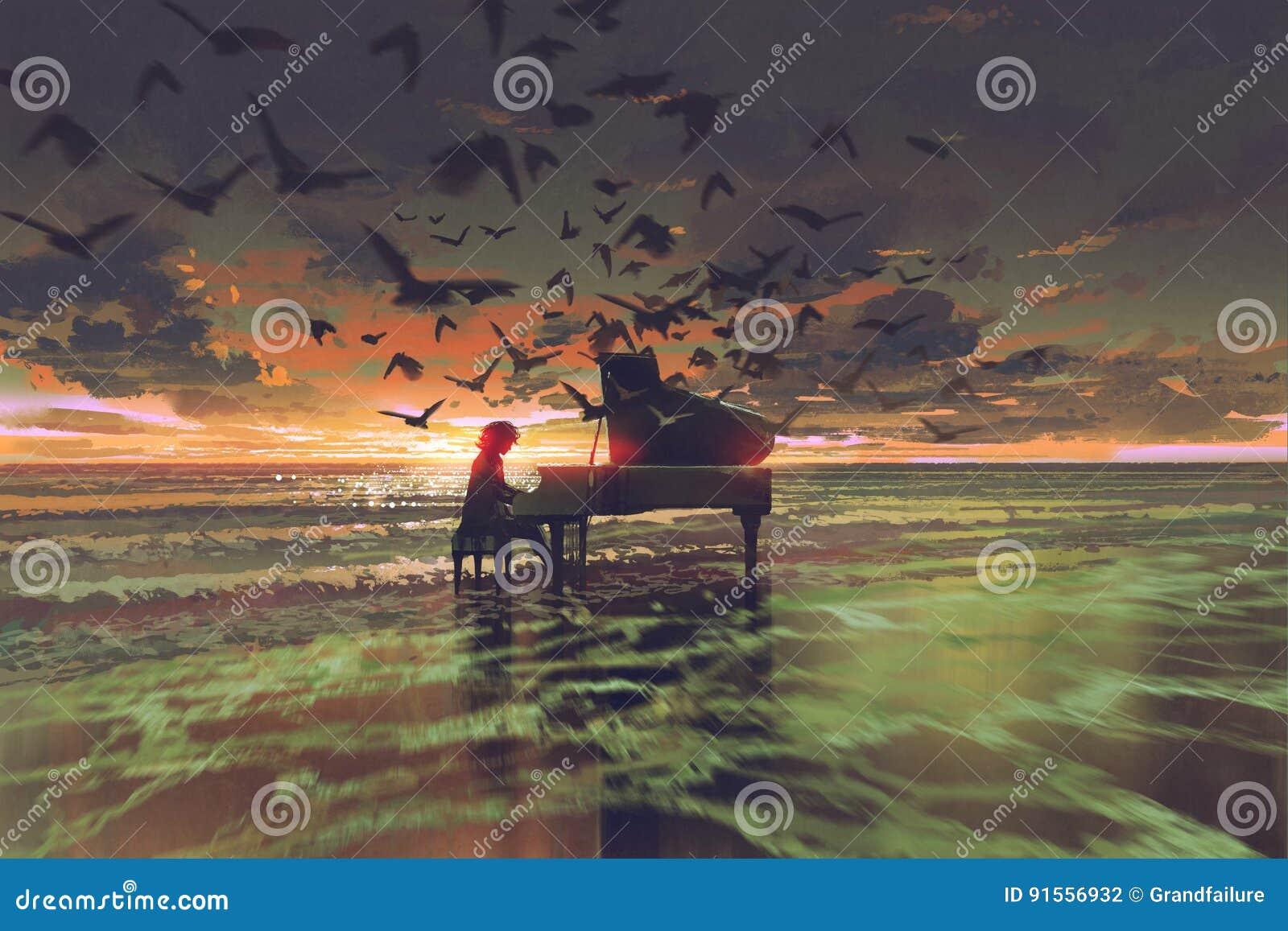 Человек играя рояль среди толпы птиц на пляже
