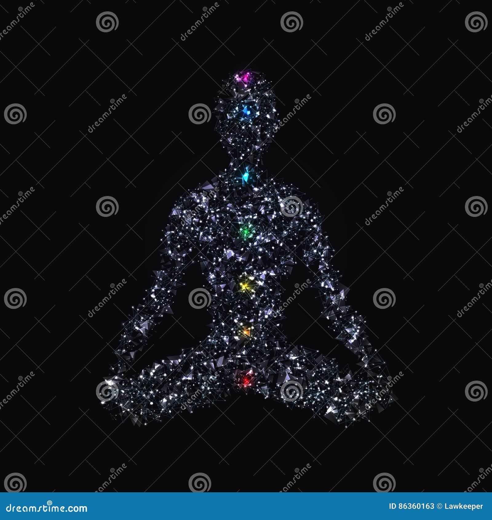 Человек йоги в представлении лотоса при chakras сделанные полигонов