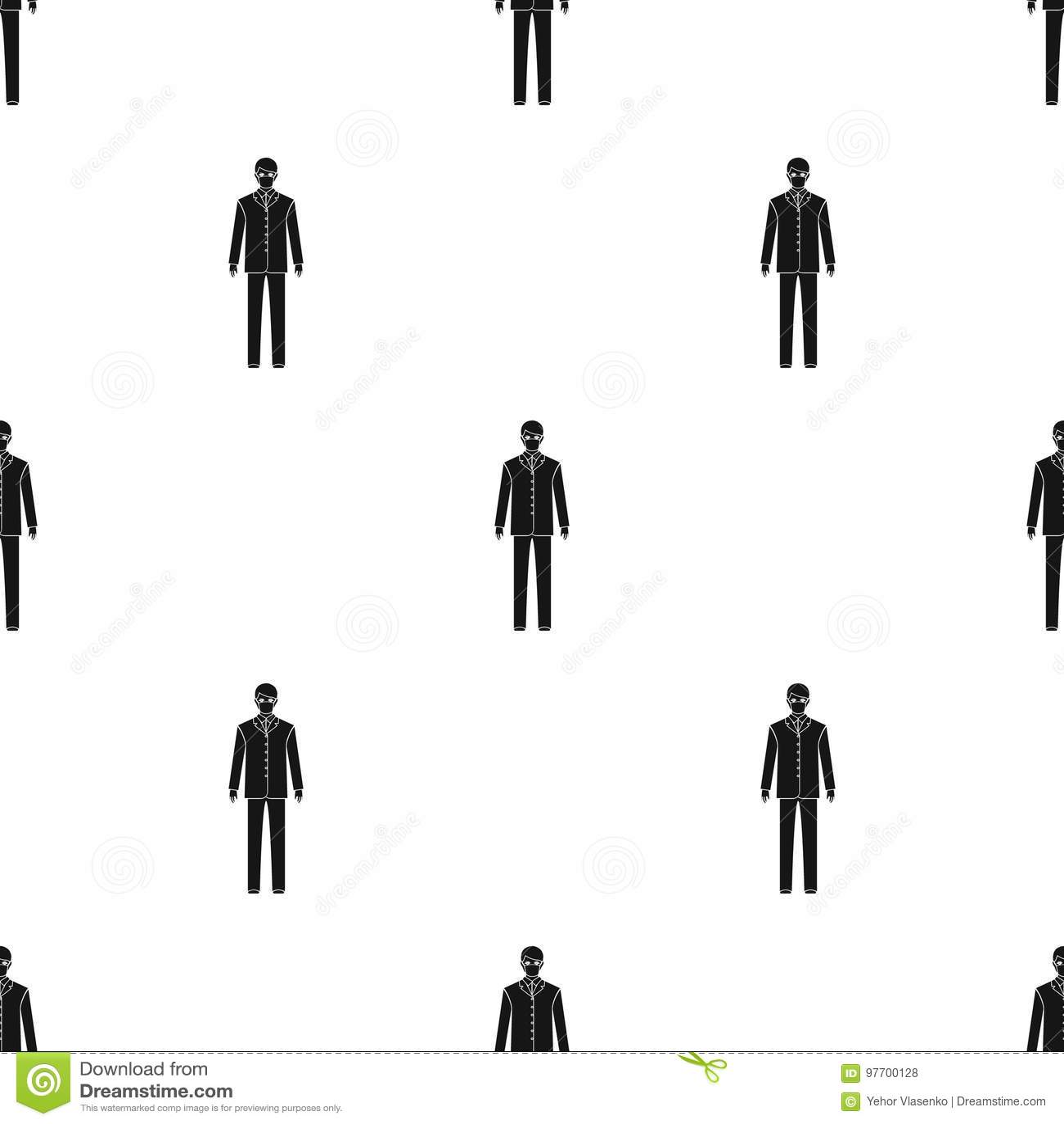 Человек доктор в форме и защитной маске Значок медицины одиночный в черном запасе символа вектора стиля