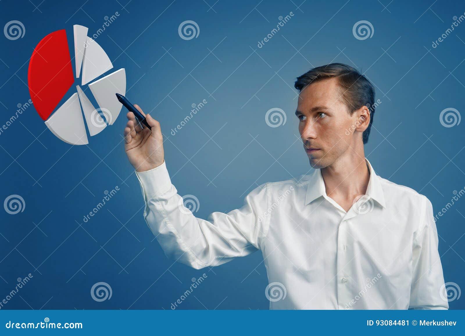 Человек показывает долевую диограмму, круговую диаграмму Концепция аналитика дела