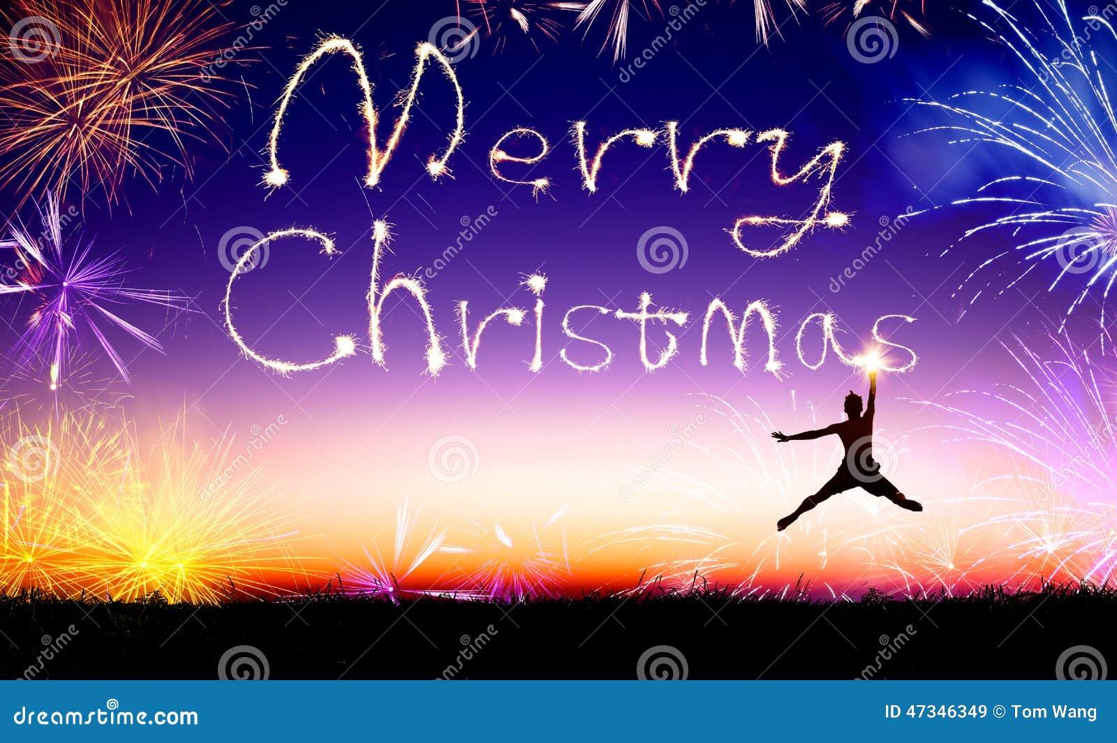 человек скача и рисуя с Рождеством Христовым