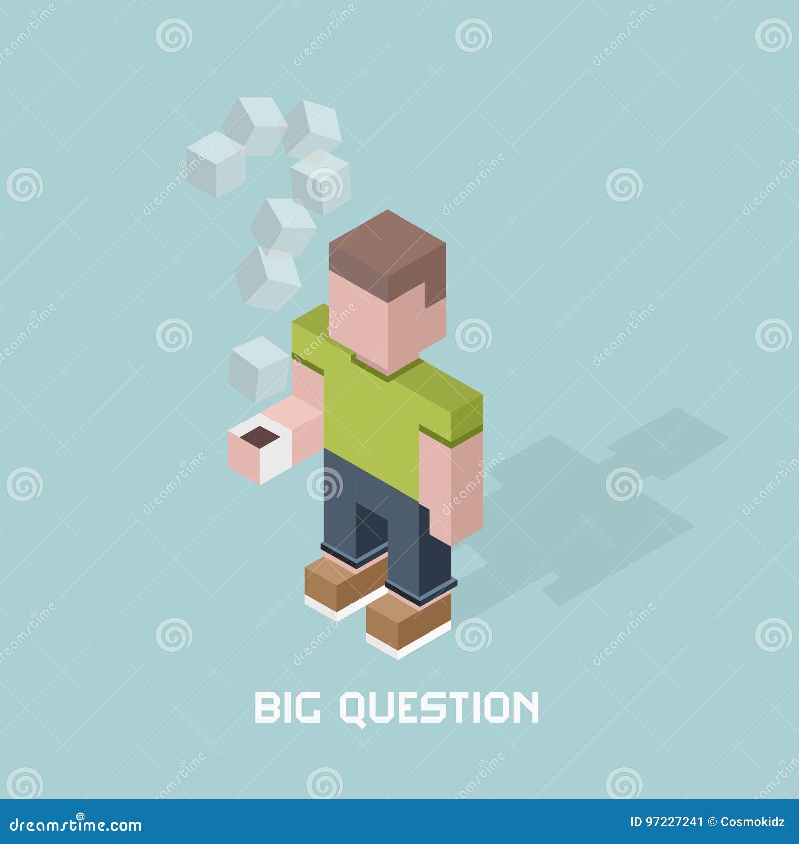 Человек с большим вопросом сомневается, гигантский вопросительный знак пара кофе, иллюстрации вектора состава кубов равновеликой