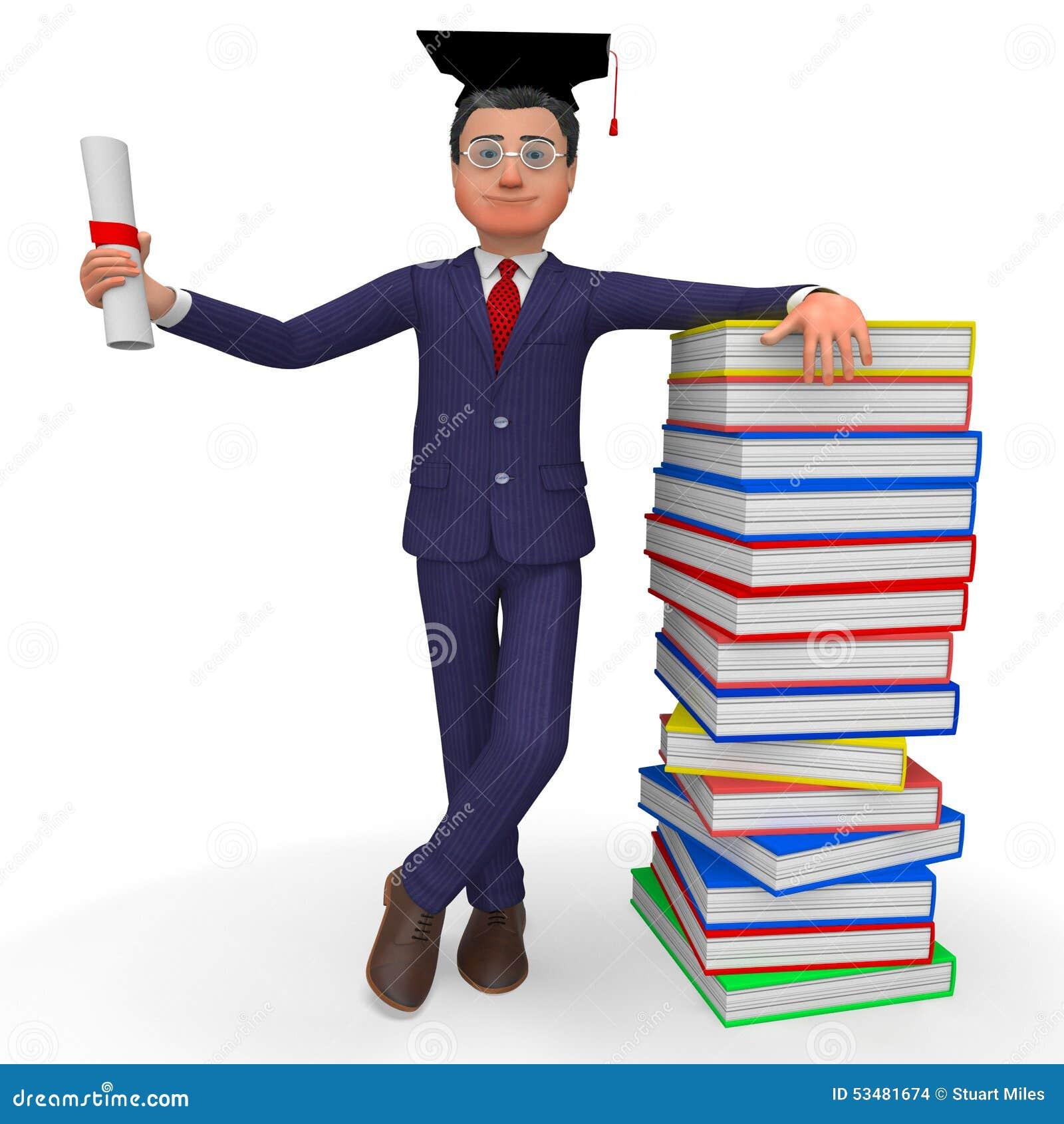 Человек с дипломом значит новый выпускника и phd Иллюстрация штока  Человек с дипломом значит новый выпускника и phd