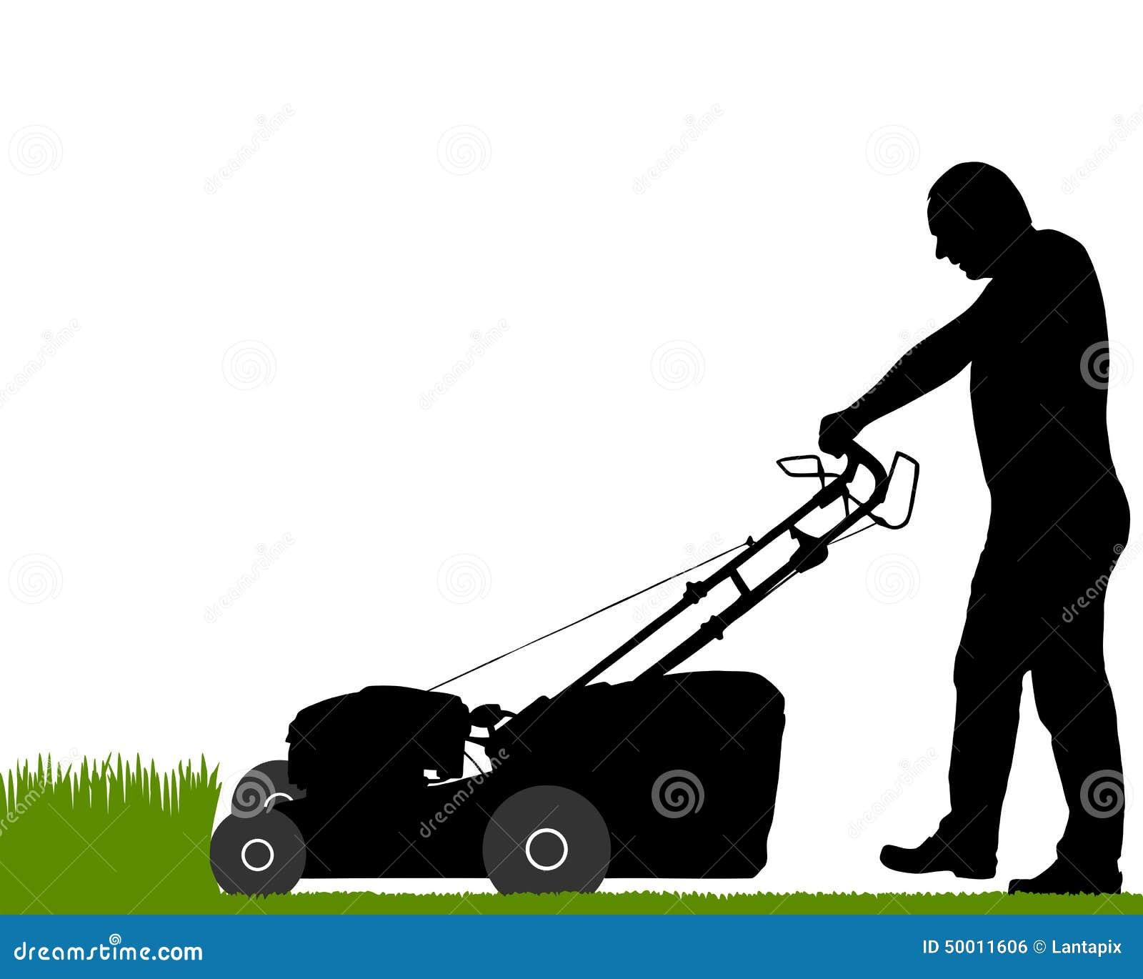 Человек с травокосилкой