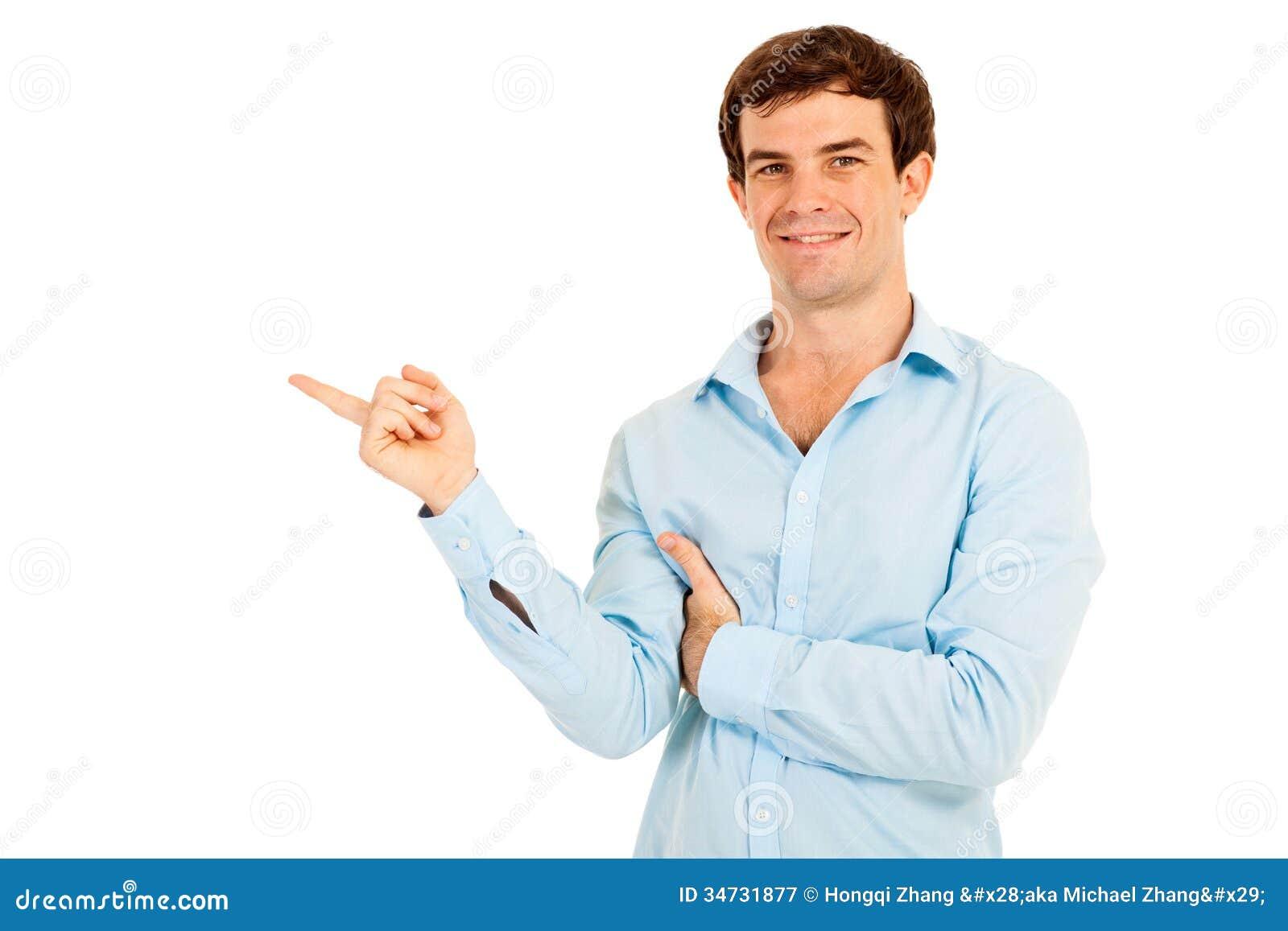 Человек указывая пустой космос экземпляра