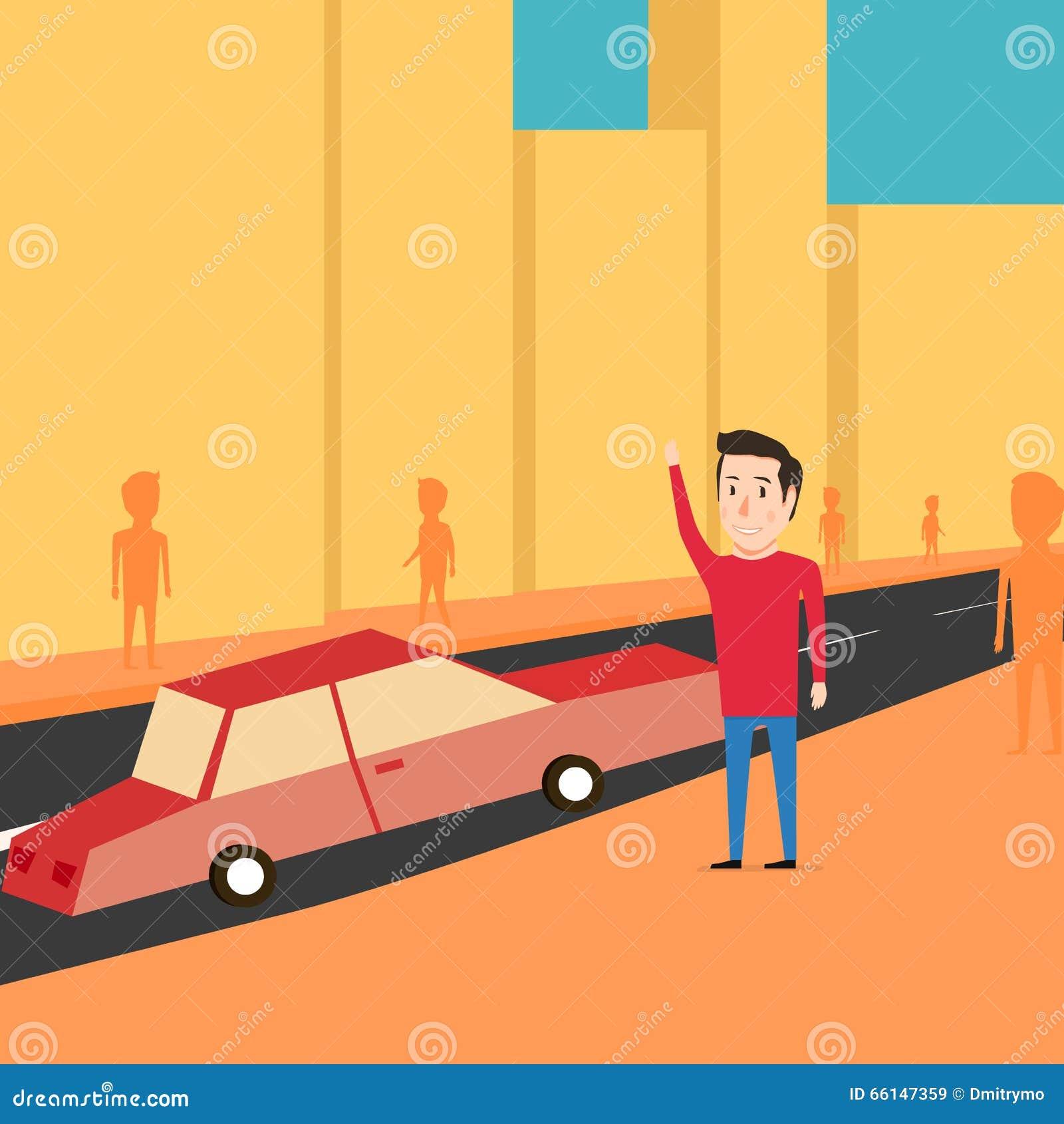 Человек хочет уловить такси Ждать автомобиль