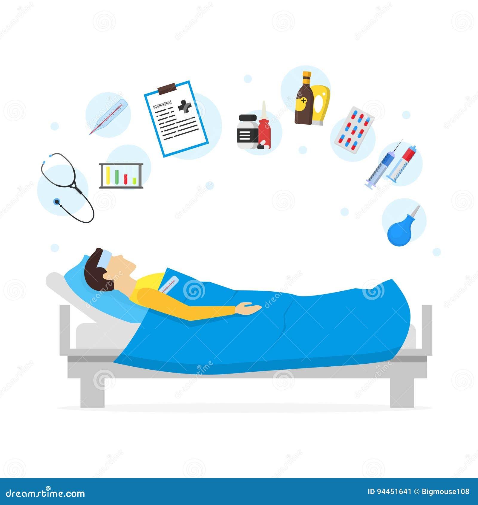 Человек шаржа больной в комплекте кровати и элемента вектор