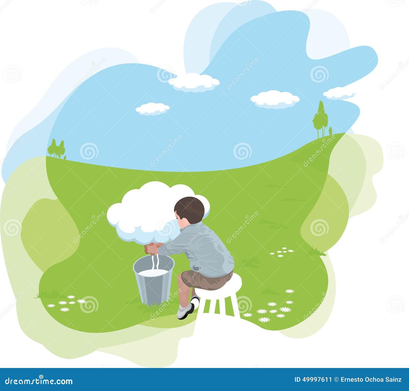 Человек Cartooned сидя доя от облака