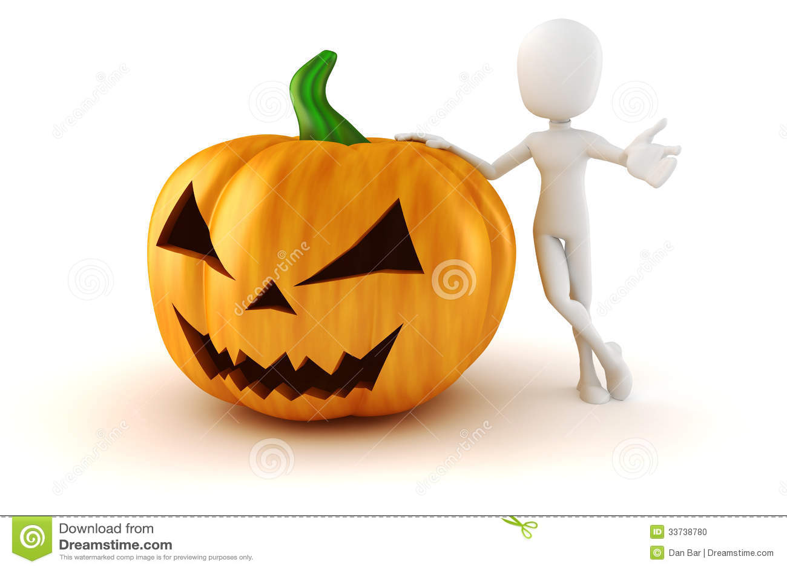 человек 3d и большая страшная тыква хеллоуина