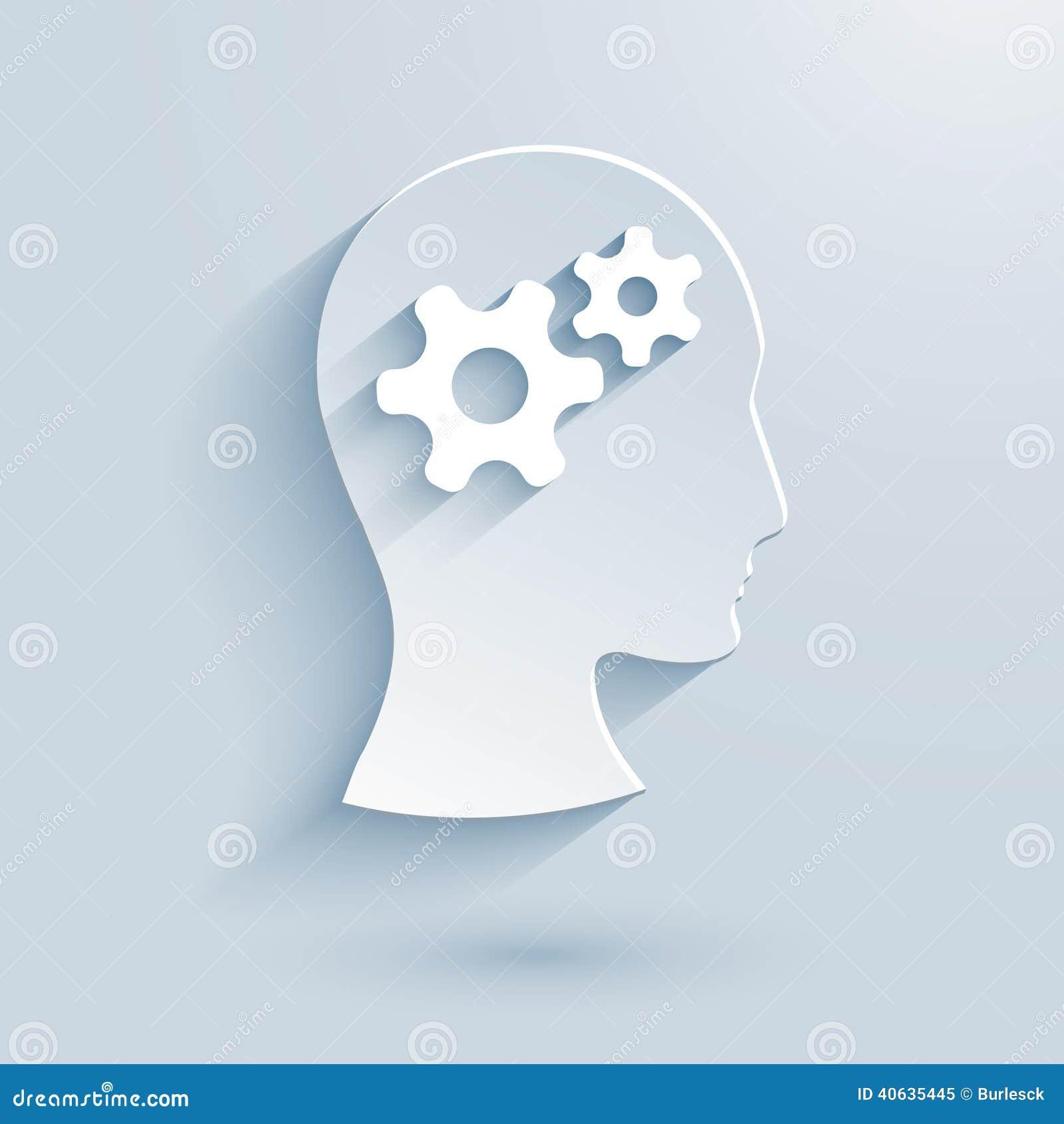 Человеческая голова с значком шестерней бумажным
