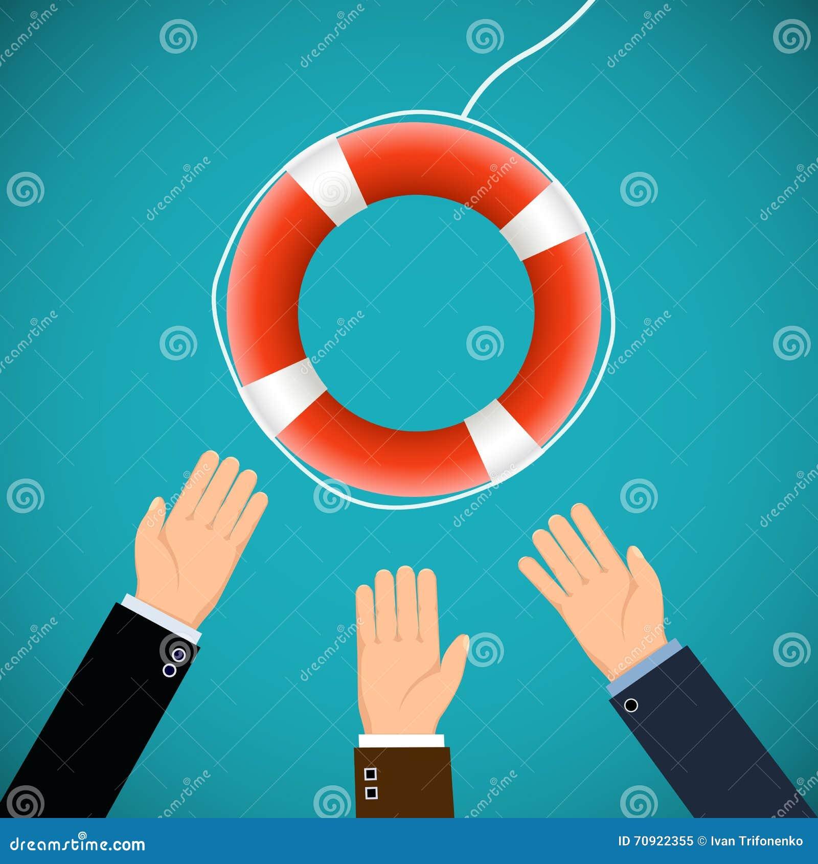 Человеческие руки и lifebuoy Спасать жизни illustrat запаса