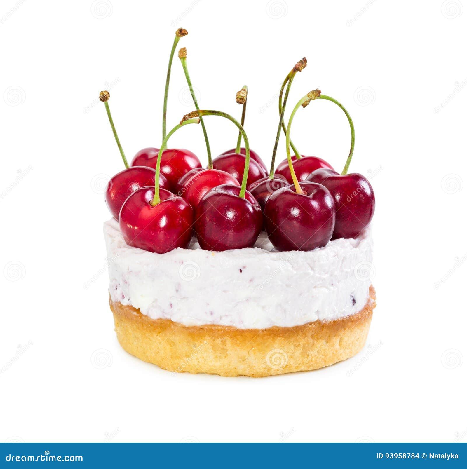 Чизкейк с свежими сладостными вишнями