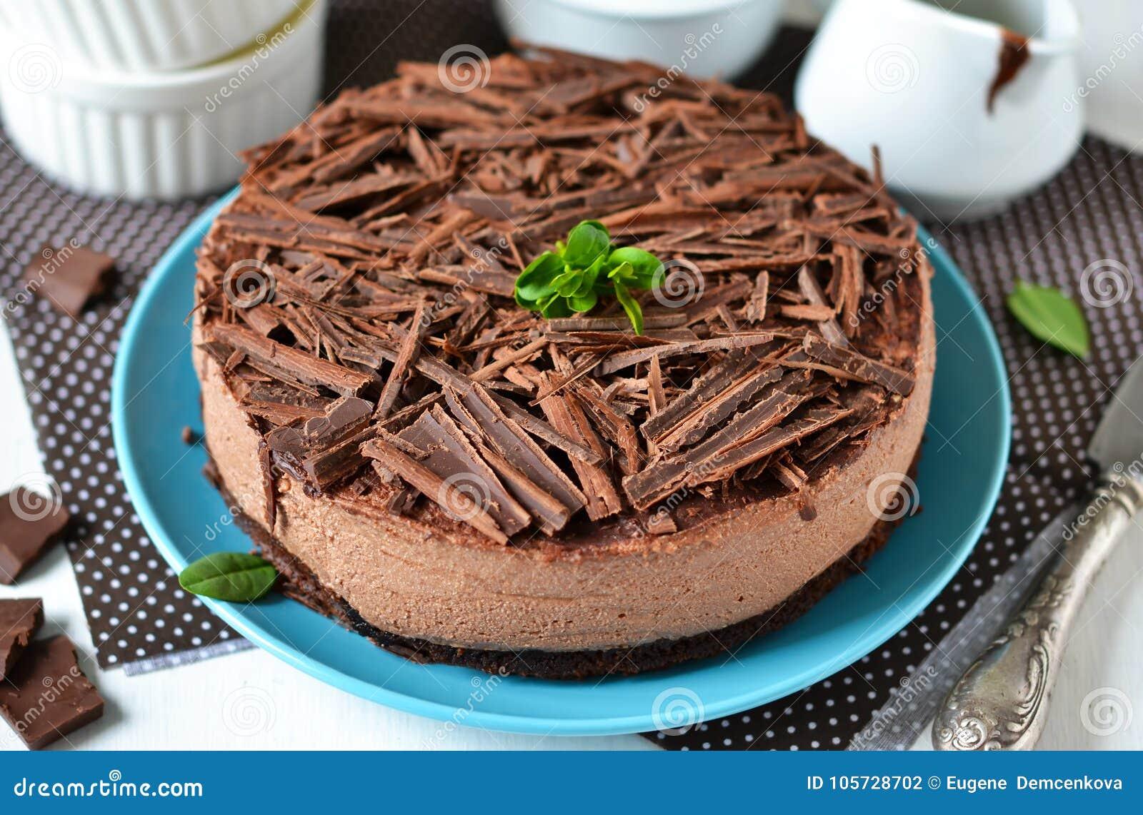 Чизкейк шоколада с mascarpone, печеньем шоколада