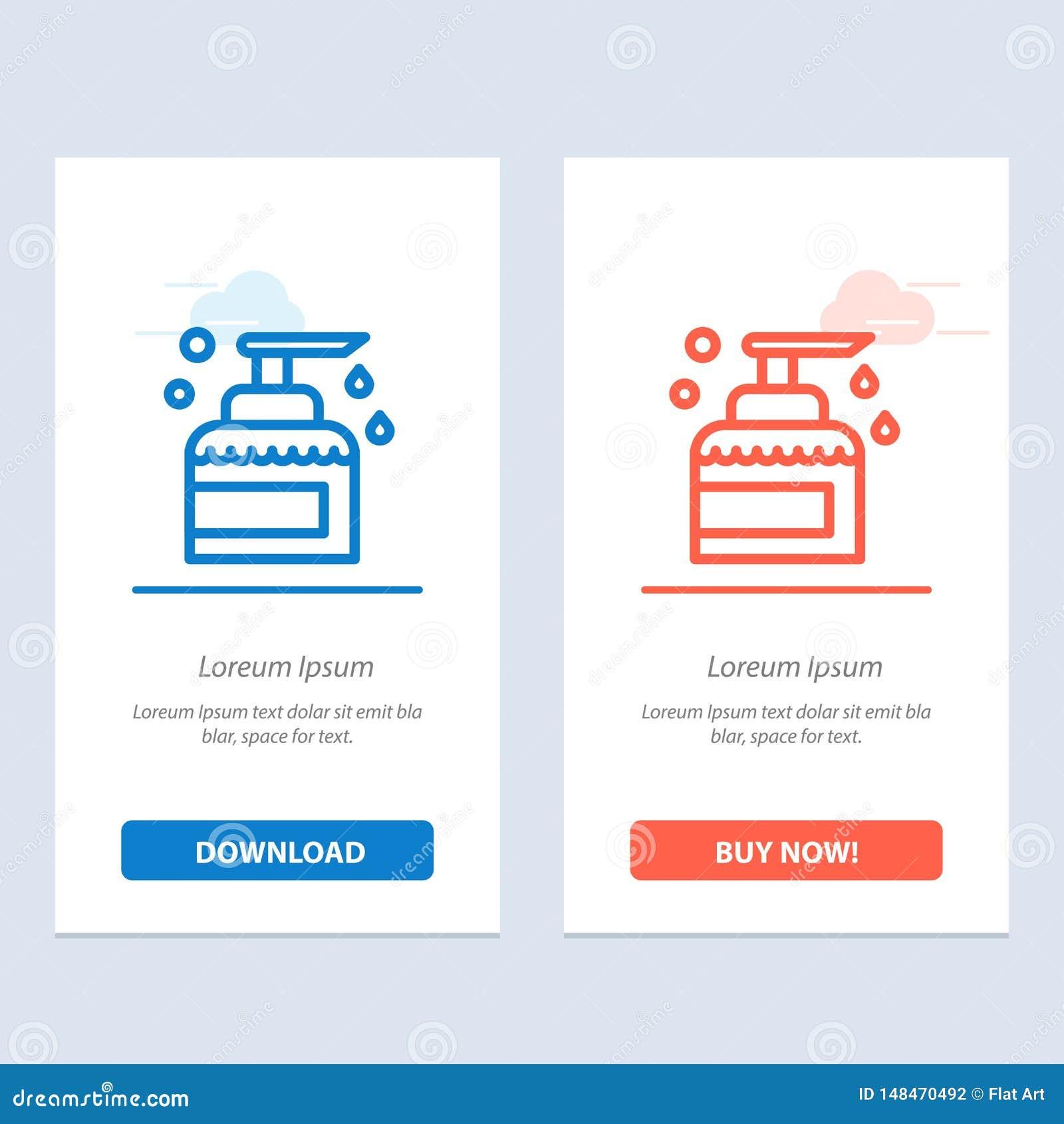 Чистка, дом, держать, продукт, синь брызг и красная загрузка и купить теперь шаблон карты приспособления сети