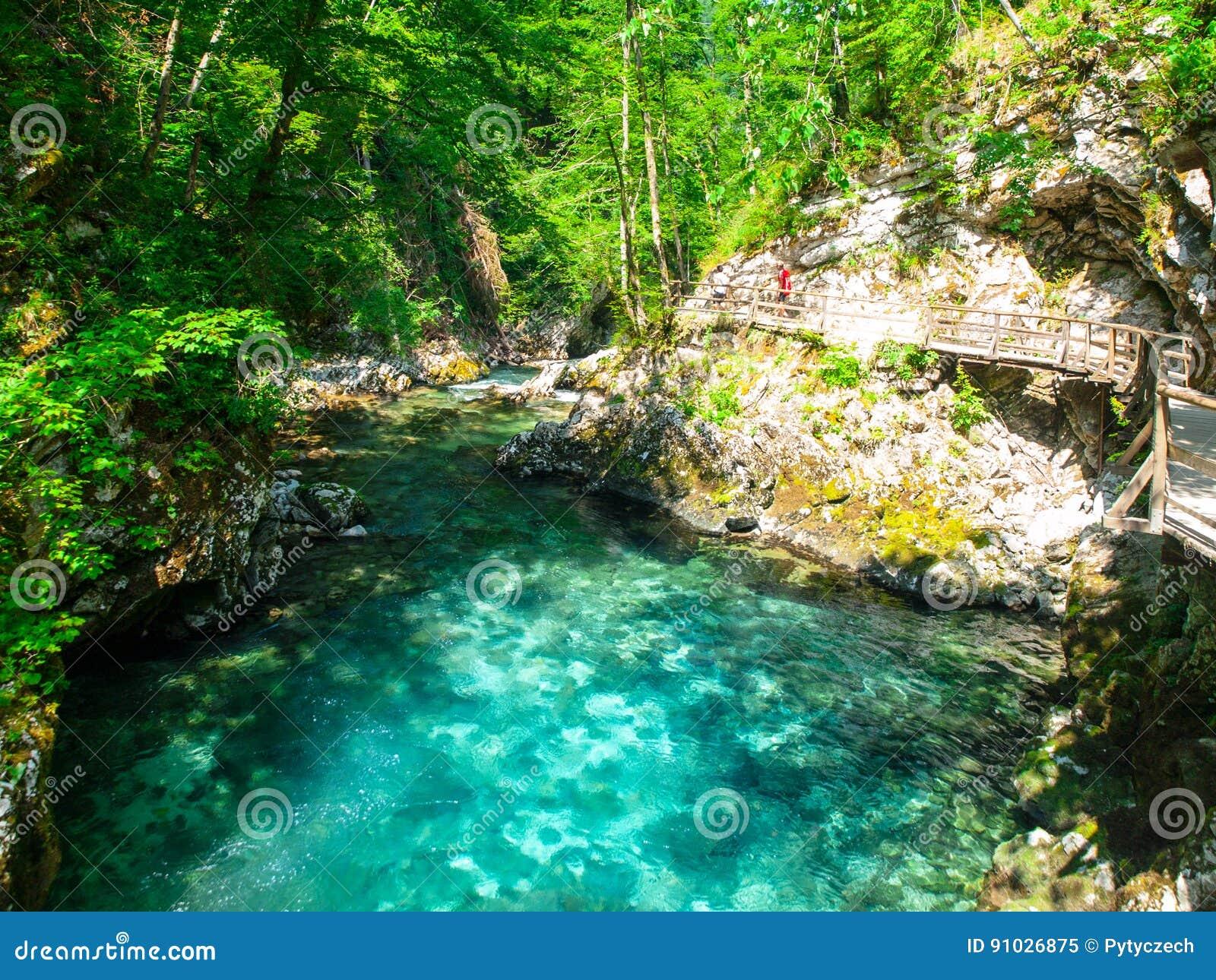 Чисто открытое море реки Radovna в ущелье Vintgar Естественные водопады, бассейны и речные пороги и туристский деревянный путь