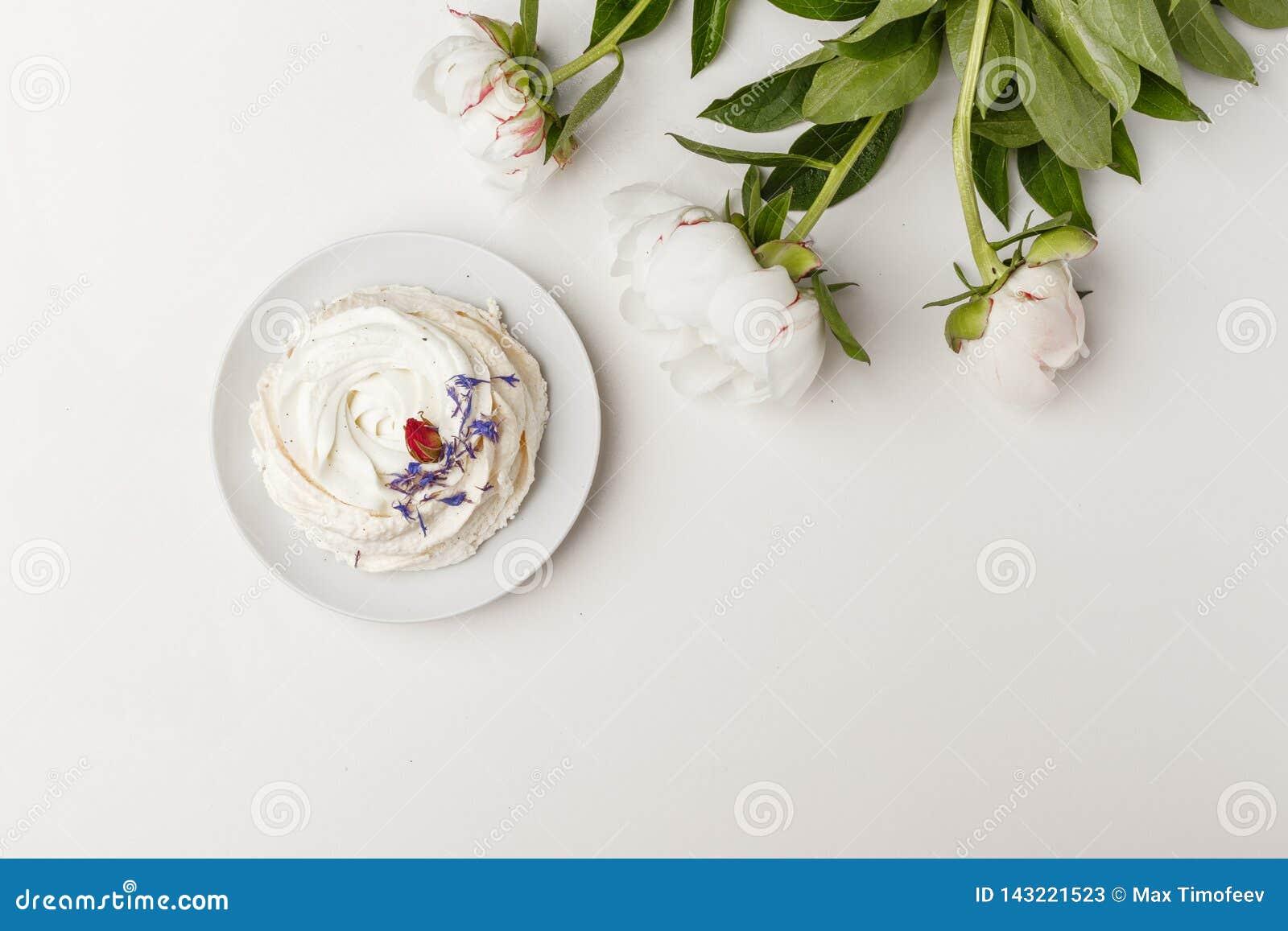 Чувствительные белые пионы и торт на белой предпосылке