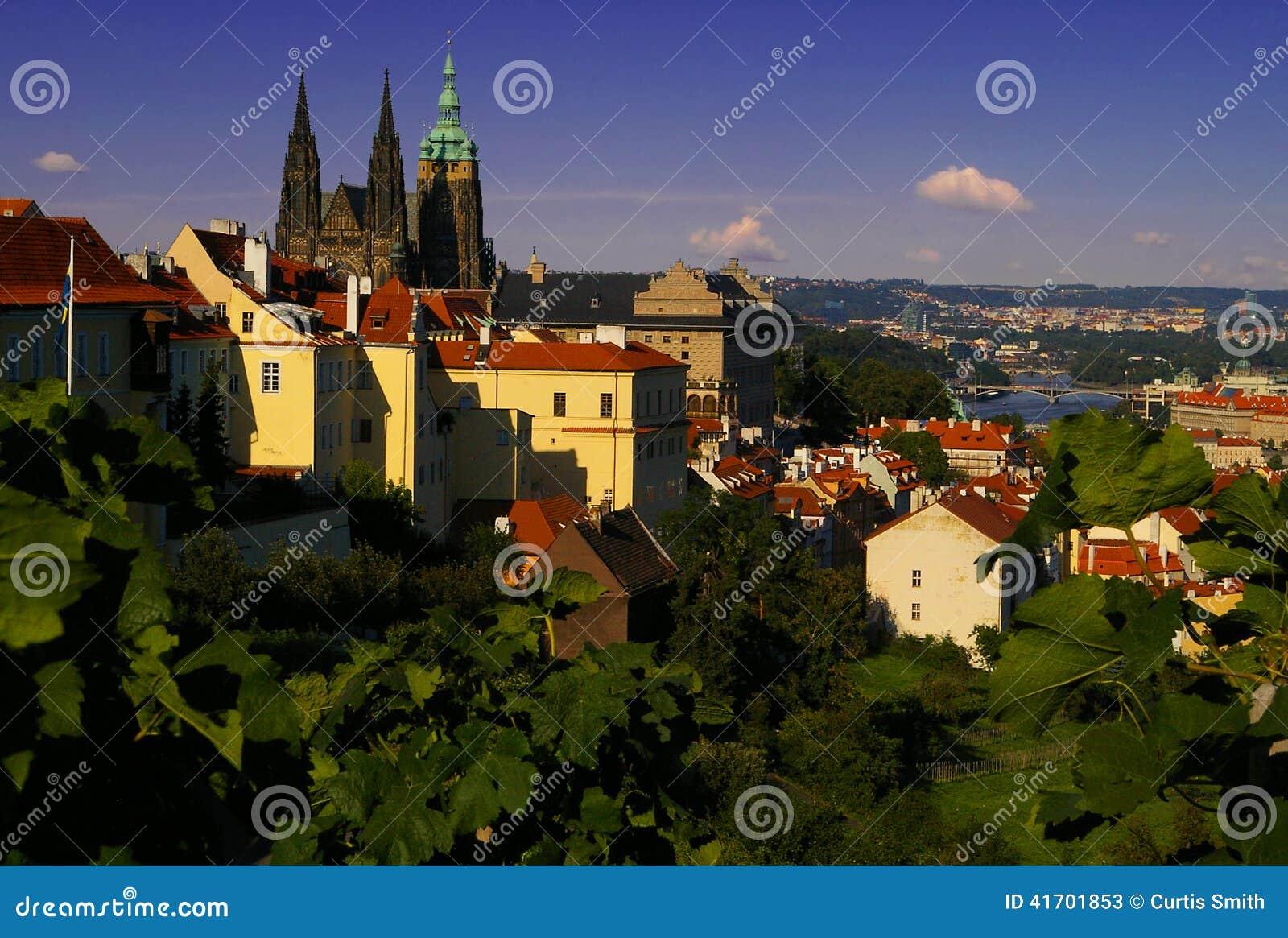 Чудесный городской пейзаж Праги с собором