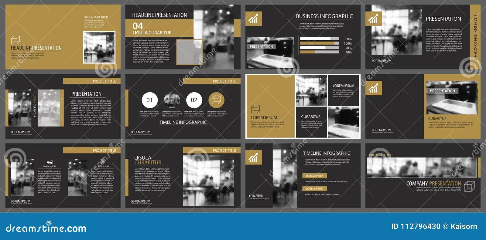 Шаблоны представления черного золота и предпосылка элементов infographics Польза для годового отчета дела, рогульки, корпоративно
