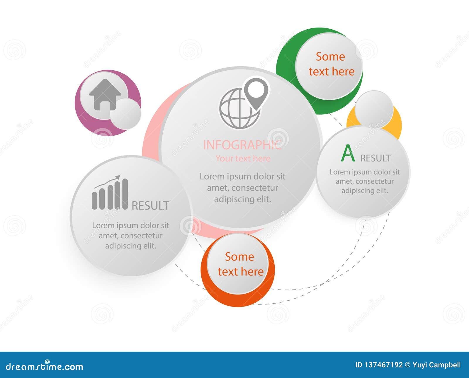 Шаблон 5 вариантов infographic с линией значками для представлений, отчетов, брошюр etc