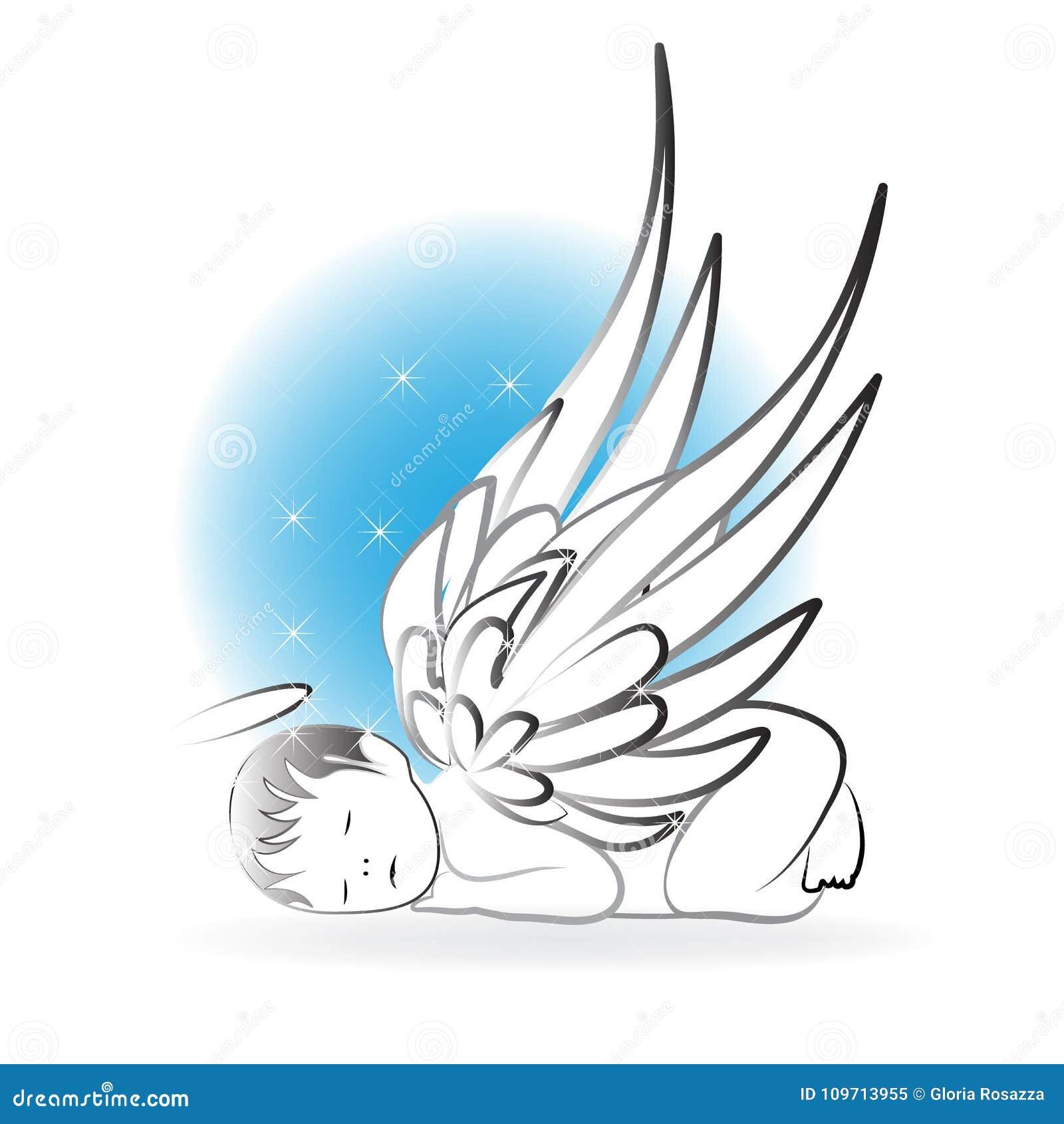 Шаблон вектора значка логотипа спать ангела младенца