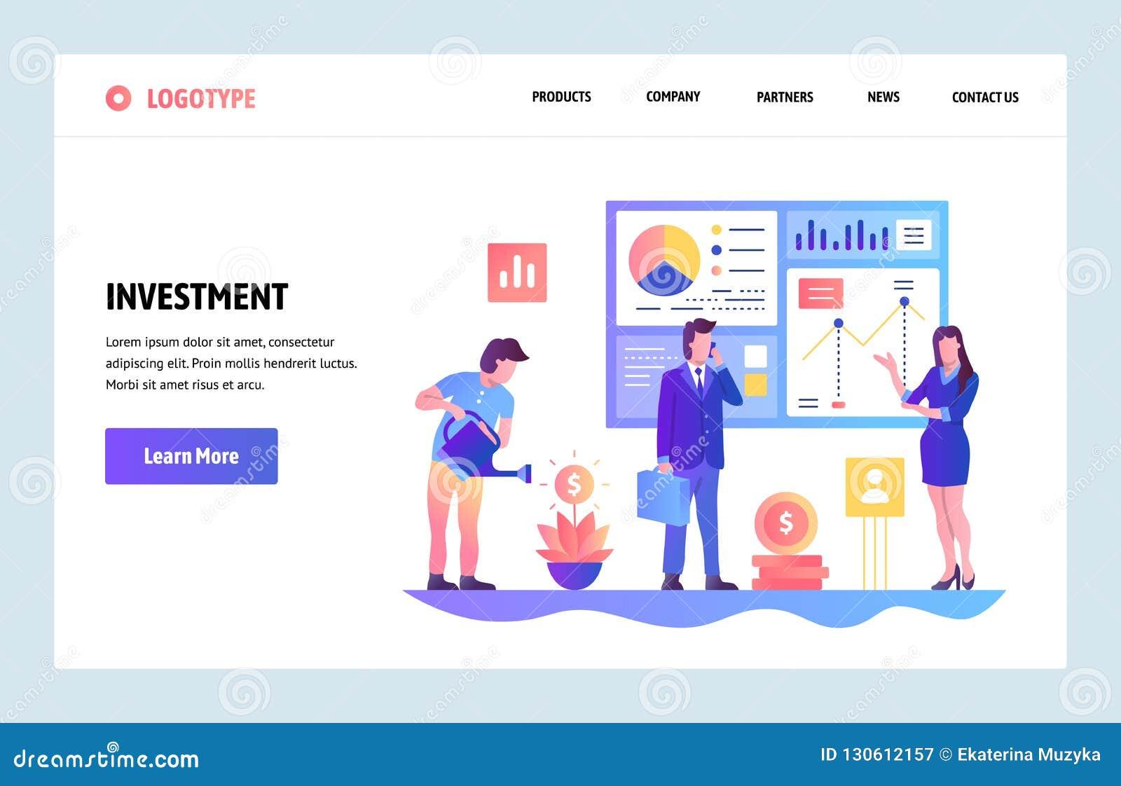 Шаблон дизайна градиента вебсайта вектора Капиталовложения предприятий и отчет о roi финансовый Концепции страницы посадки для