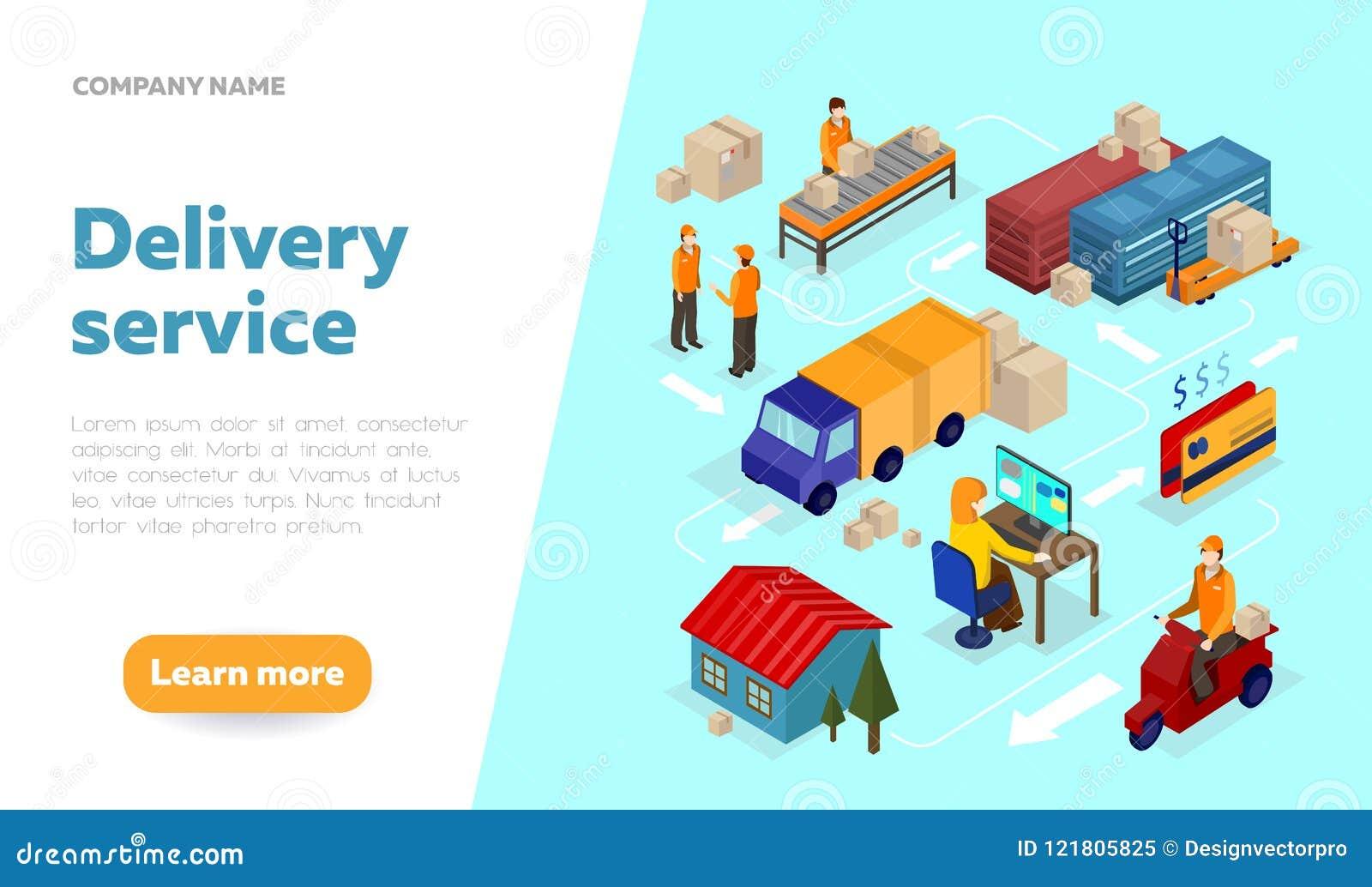 Шаблон дизайна знамени сети обслуживания поставки с равновеликим eleme