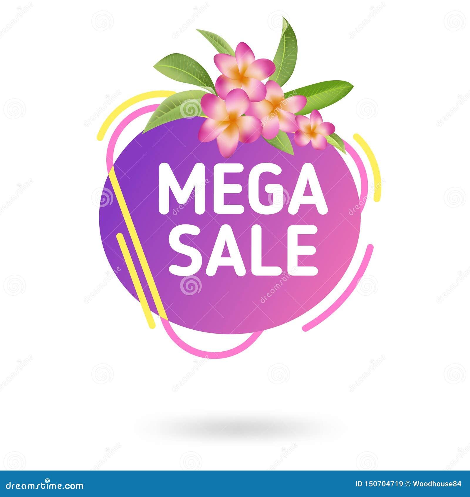 Шаблон знамени продажи лета Жидкостный абстрактный геометрический пузырь с троповыми цветками, тропический фон речи