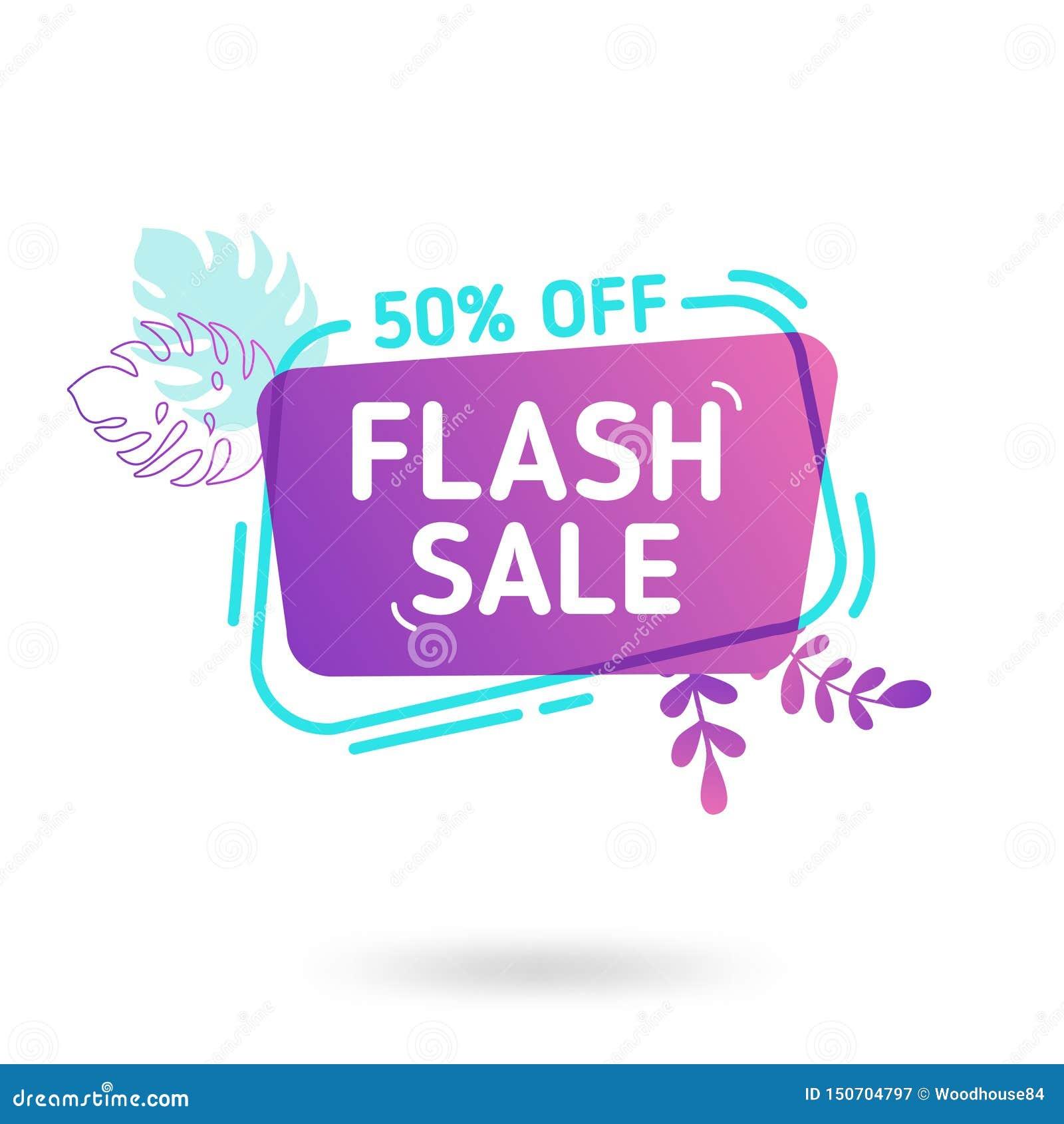 Шаблон знамени продажи лета Жидкостный абстрактный геометрический пузырь речи с троповыми цветками и фламинго, тропическим фоном