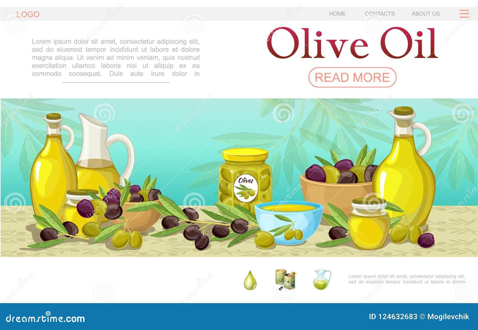 Шаблон интернет-страницы оливкового масла шаржа