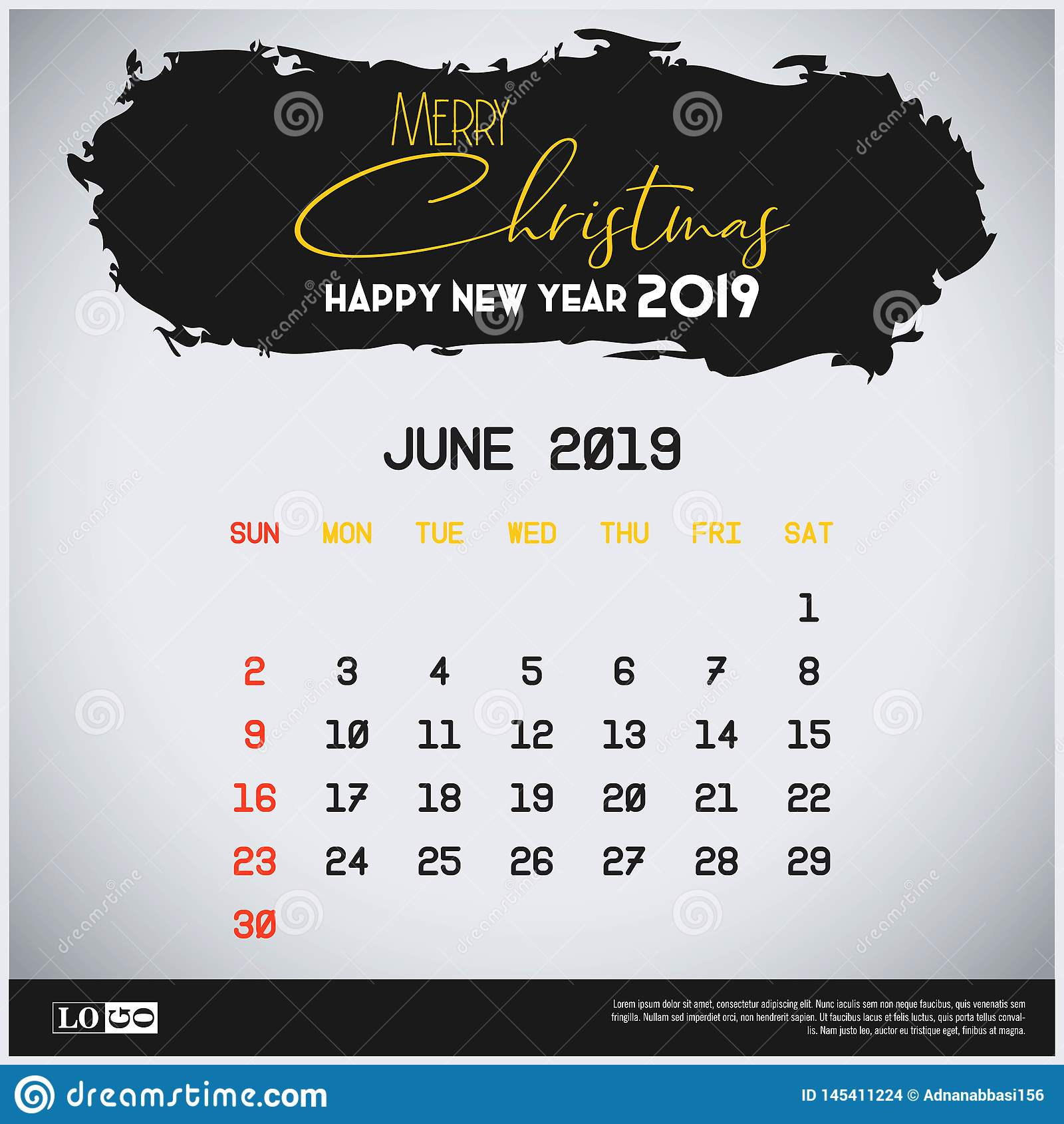 Шаблон календаря Нового Года июня 2019 r