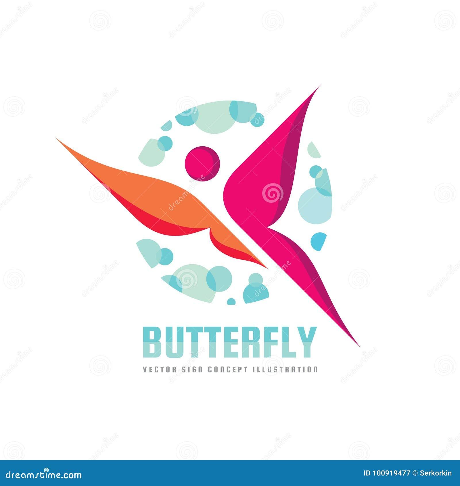 Шаблон логотипа вектора бабочки Салон красоты - иллюстрация знака творческая человеческий характер абстрактная икона